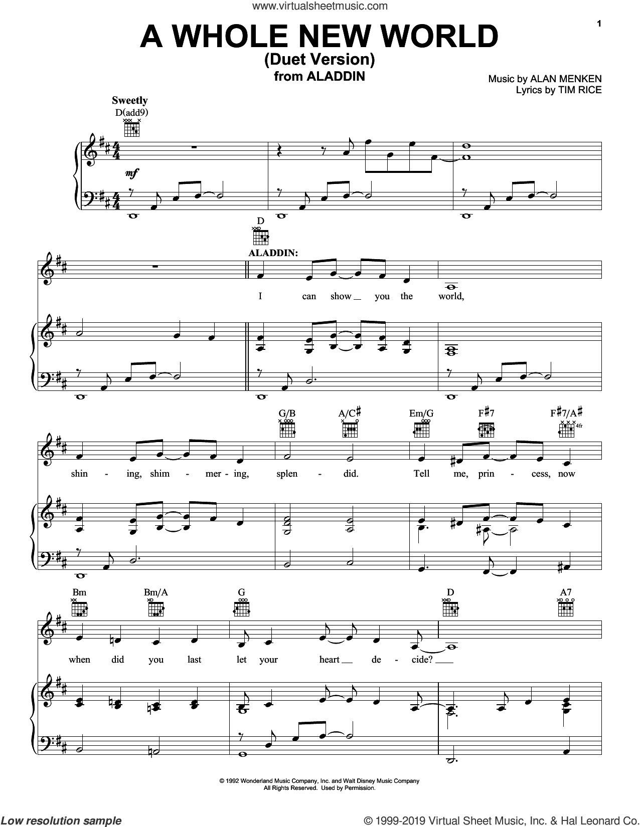 A Whole New World (Duet Version) (from Aladdin) sheet music for voice, piano or guitar by Alan Menken, Howard Ashman and Tim Rice, intermediate skill level