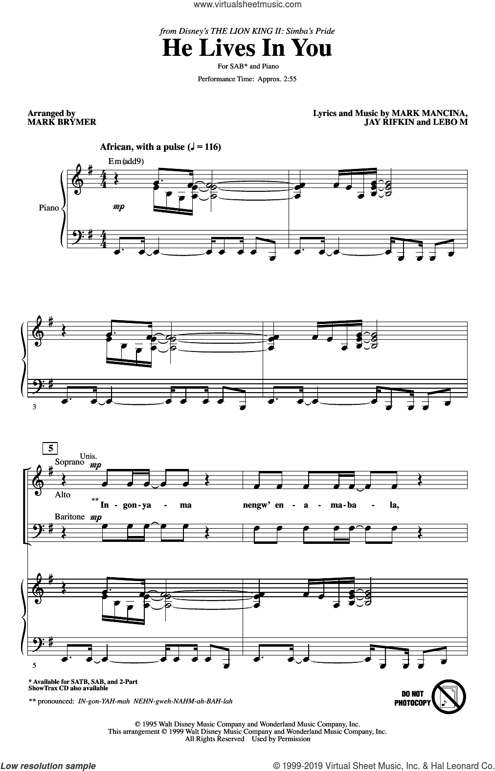 He Lives In You (from The Lion King II: Simba's Pride) (arr. Mark Brymer) sheet music for choir (SAB: soprano, alto, bass) by Mark Mancina, Mark Brymer, Jay Rifkin and Lebo M., intermediate skill level