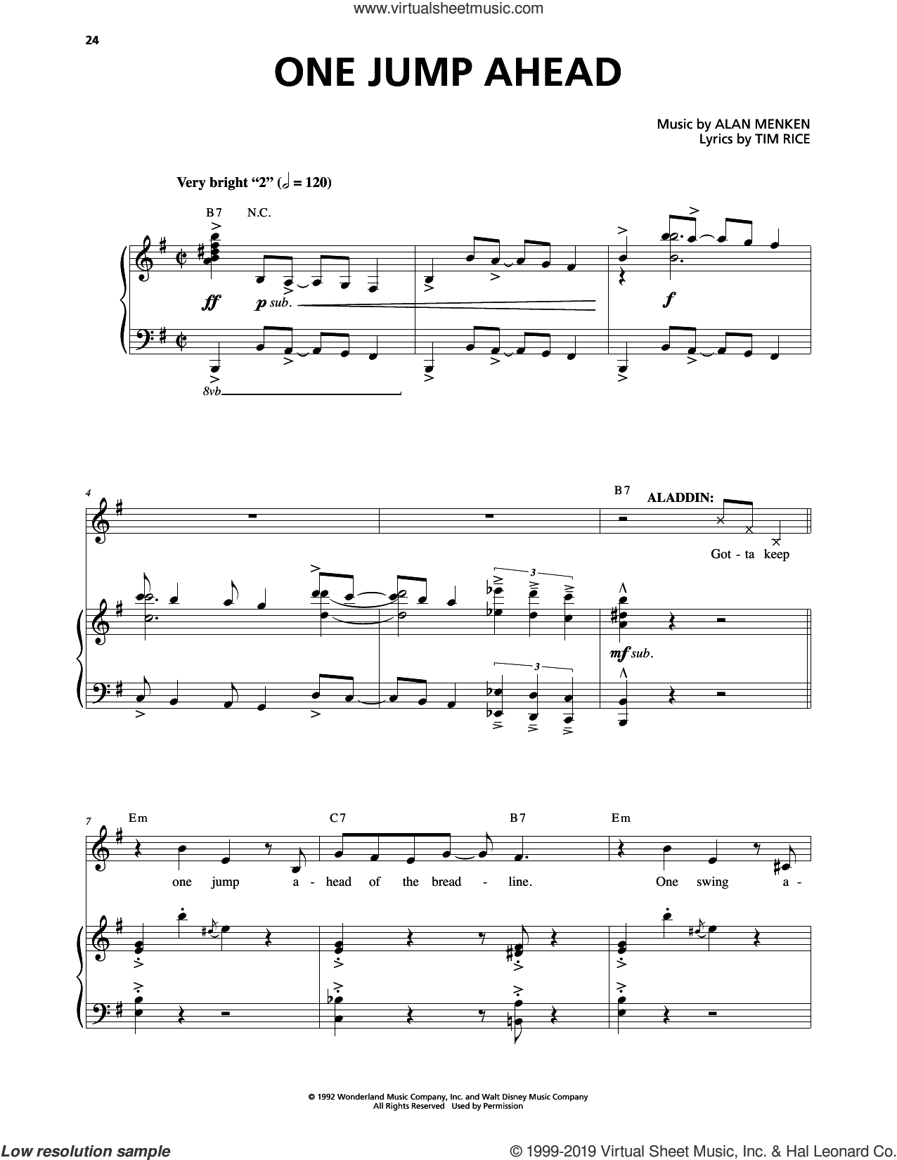 One Jump Ahead (from Aladdin: The Broadway Musical) sheet music for voice and piano by Alan Menken and Tim Rice, intermediate skill level