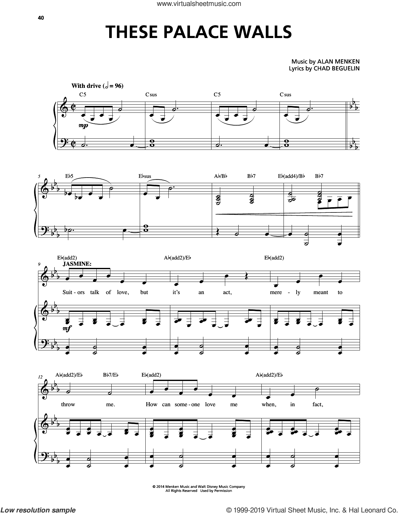 These Palace Walls (from Aladdin: The Broadway Musical) sheet music for voice and piano by Alan Menken and Chad Beguelin, intermediate skill level