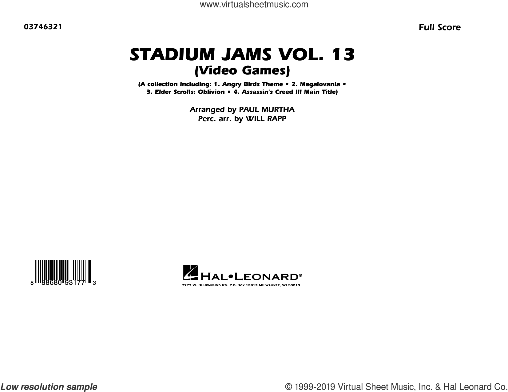 Stadium Jams Volume 13 (Video Games) (COMPLETE) sheet music for marching band by Paul Murtha, Paul Murtha & Will Rapp and Will Rapp, intermediate skill level