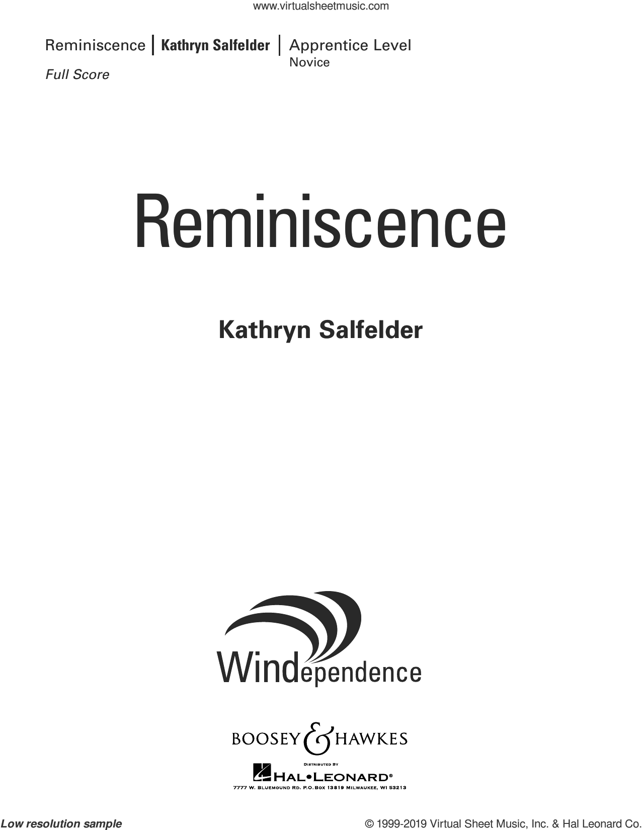 Reminiscence (COMPLETE) sheet music for concert band by Kathryn Salfelder, intermediate skill level