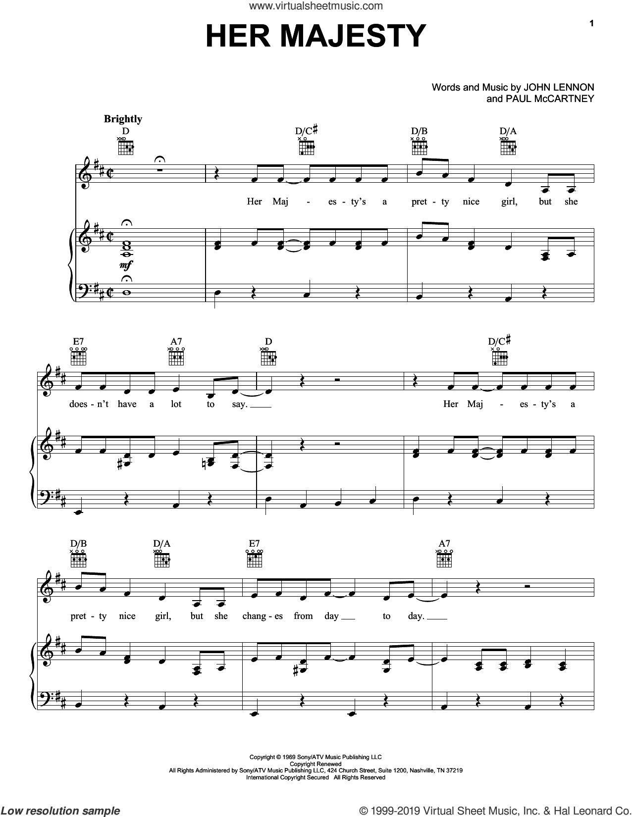 Her Majesty sheet music for voice, piano or guitar by The Beatles, John Lennon and Paul McCartney, intermediate skill level