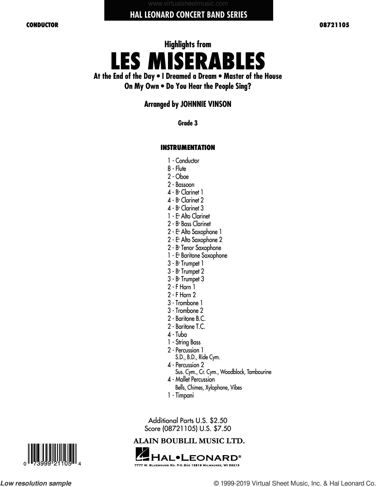 Highlights from Les Miserables (arr. Johnnie Vinson) (complete set of parts) sheet music for concert band by Claude-Michel Schönberg, Alain Boublil, Herbert Kretzmer, Jean-Marc Natel and Johnnie Vinson, intermediate skill level