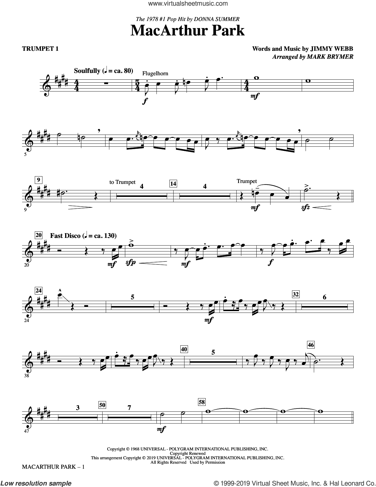 MacArthur Park (arr. Mark Brymer) (complete set of parts) sheet music for orchestra/band by Donna Summer, Jimmy Webb, Mark Brymer and Richard Harris, intermediate skill level