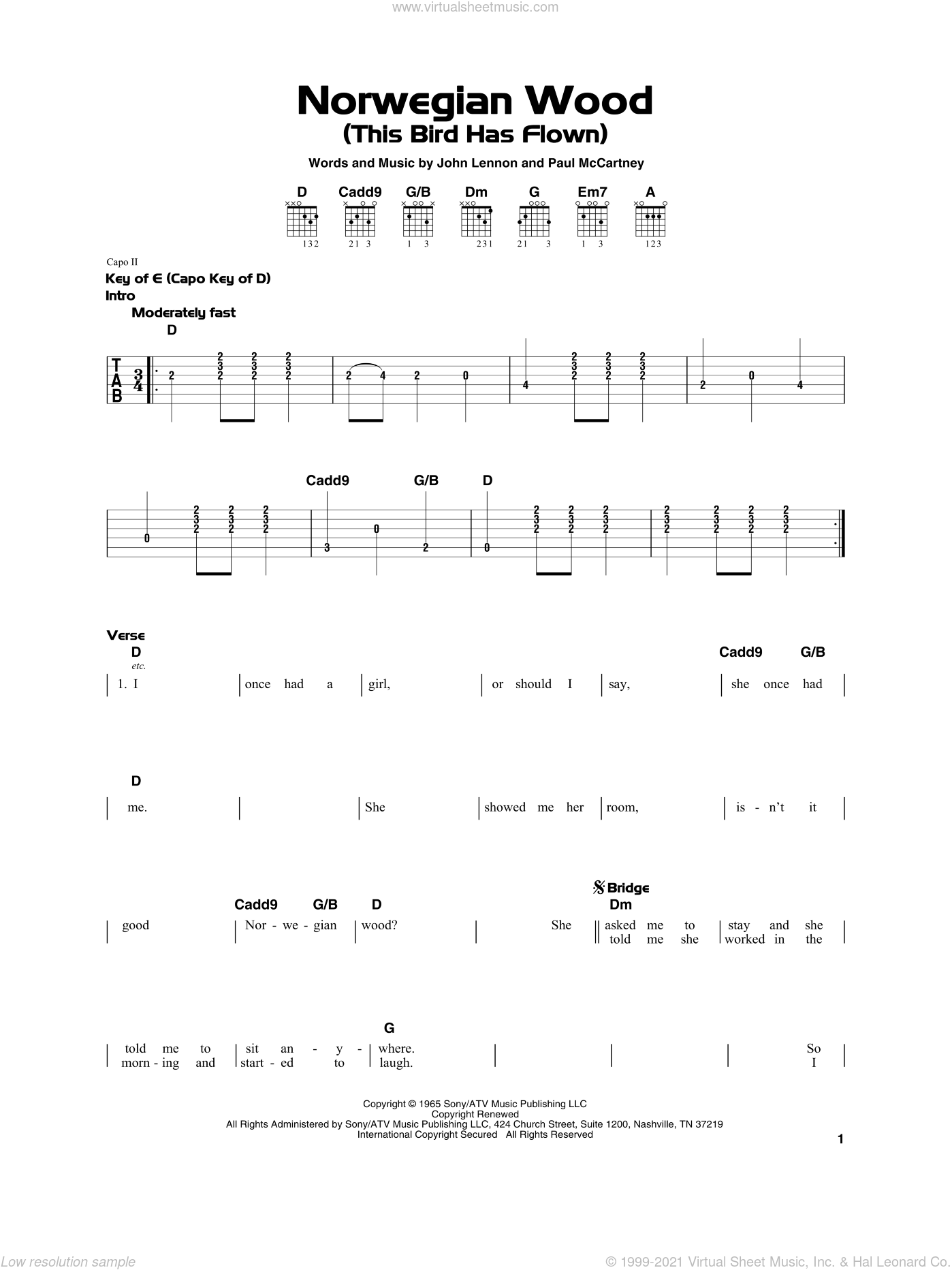 Norwegian Wood (This Bird Has Flown) sheet music for guitar solo by The Beatles, John Lennon and Paul McCartney, beginner skill level