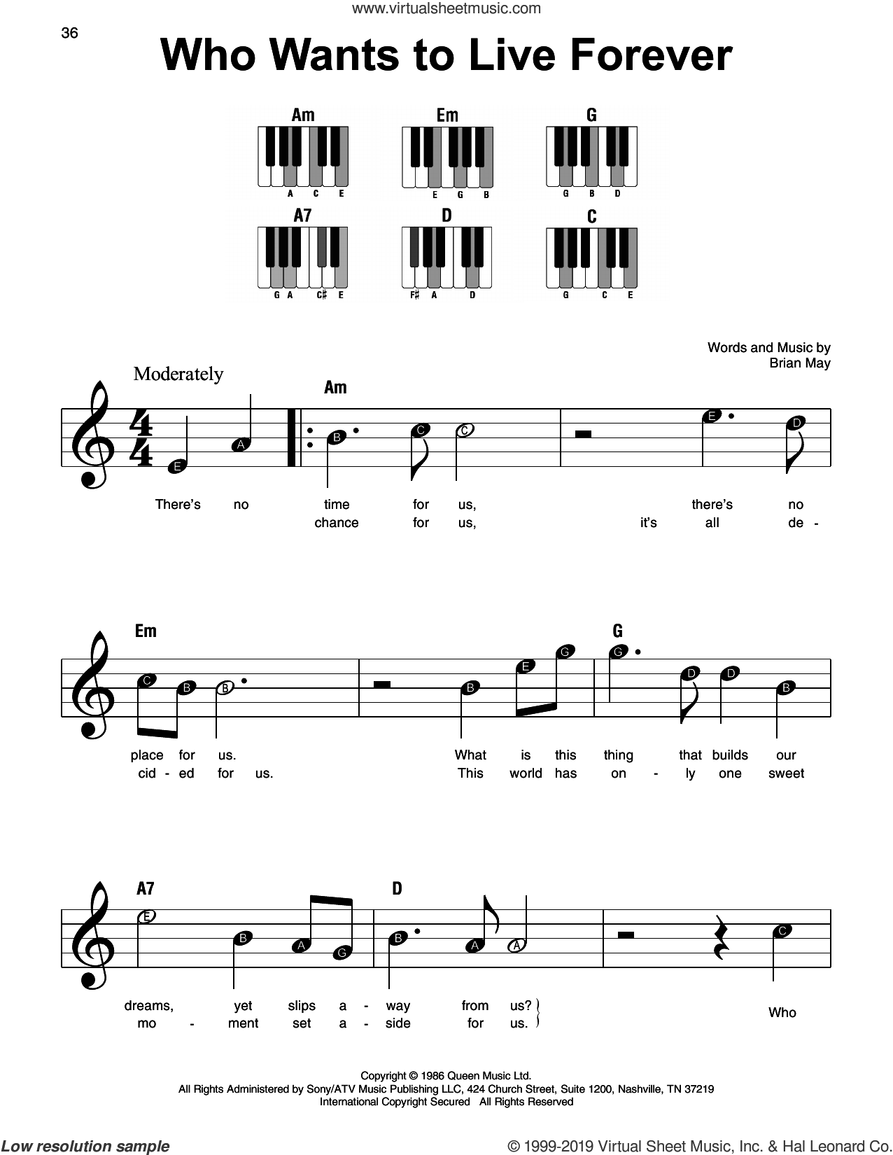 Who Wants To Live Forever sheet music for piano solo by Queen and Brian May, beginner skill level