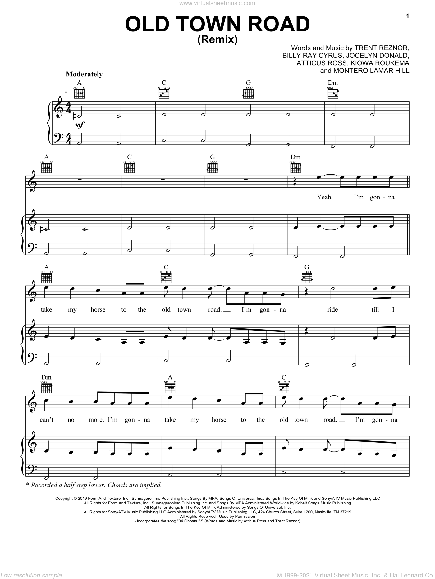 Old Town Road (Remix) sheet music for voice, piano or guitar by Lil Nas X feat. Billy Ray Cyrus, Atticus Ross, Billy Ray Cyrus, Jocelyn Donald, Kiowa Roukema, Montero Lamar Hill and Trent Reznor, intermediate skill level