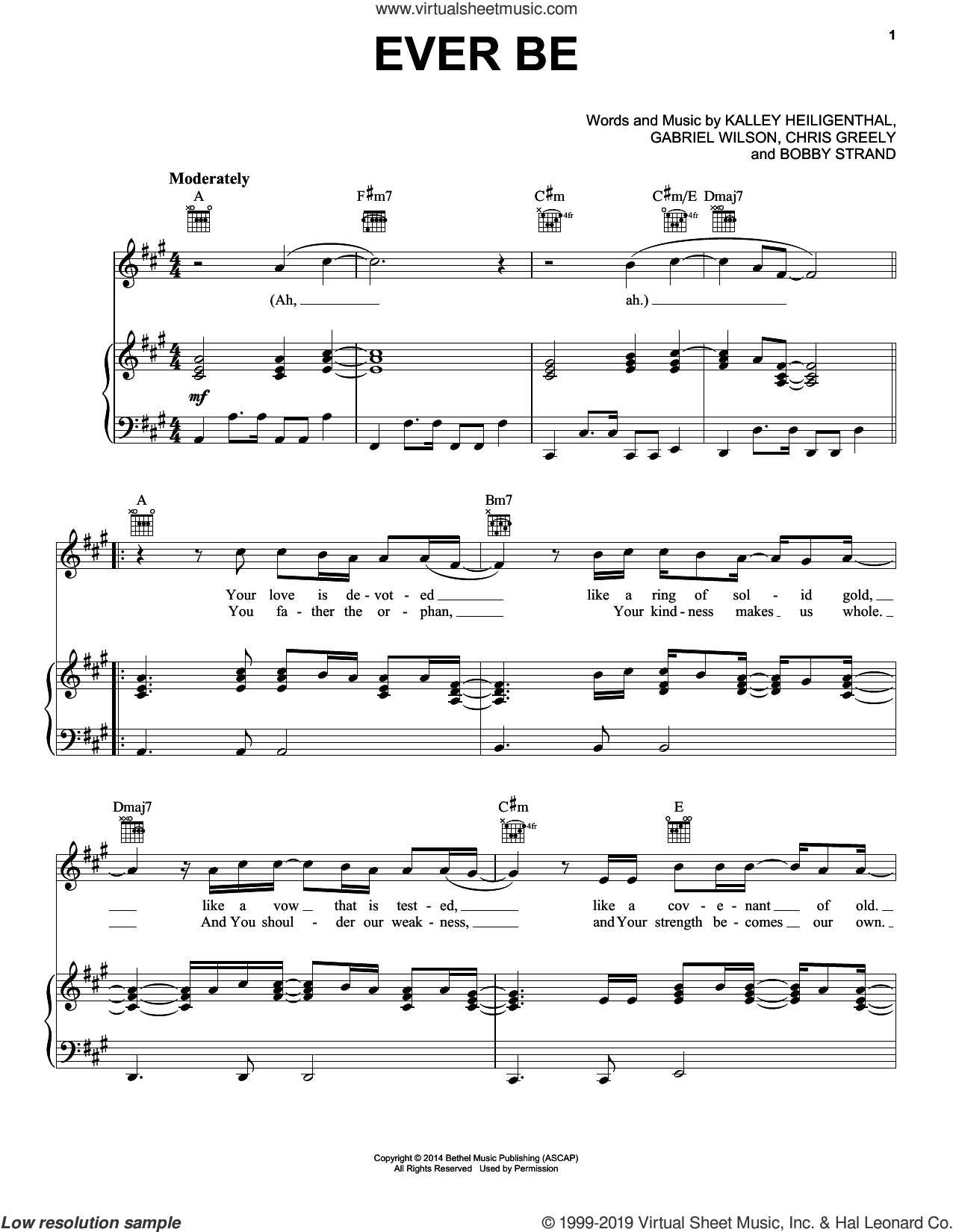 Ever Be sheet music for voice, piano or guitar by Bethel Music, Bobby Strand, Chris Greely, Gabriel Wilson and Kalley Heiligenthal, intermediate skill level