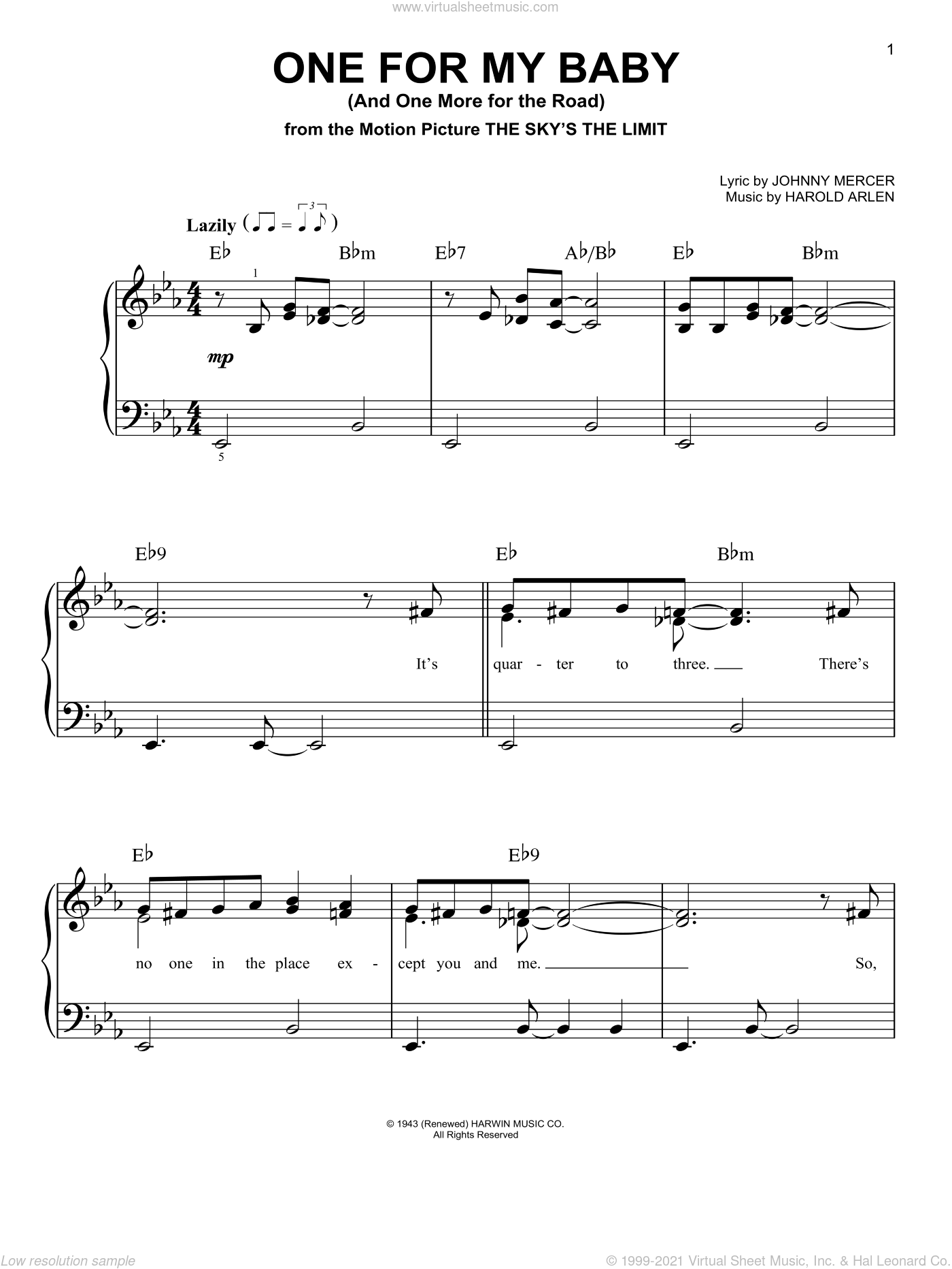 One For My Baby (And One More For The Road) sheet music for piano solo by Tony Bennett, Harold Arlen and Johnny Mercer, easy skill level