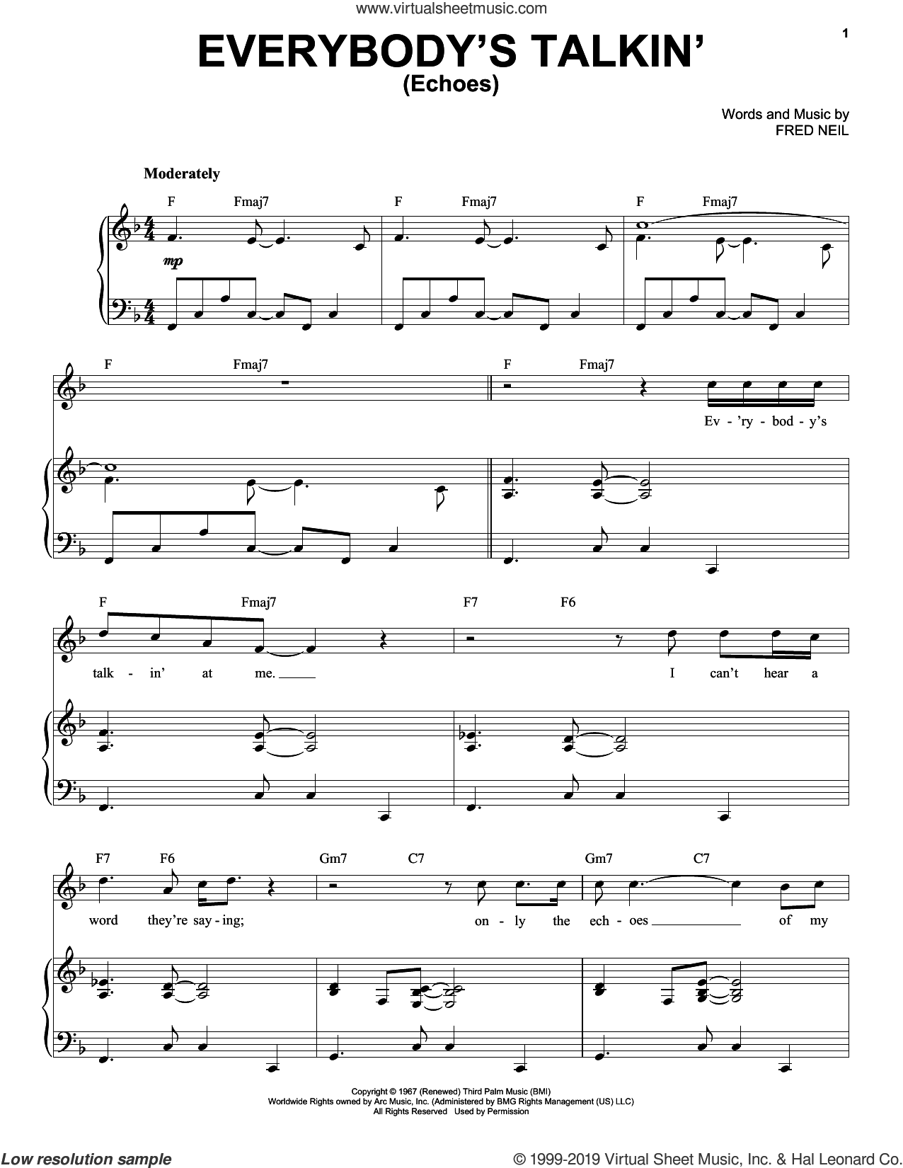 Everybody's Talkin' (Echoes) sheet music for voice and piano by Tony Bennett and Fred Neil, intermediate skill level