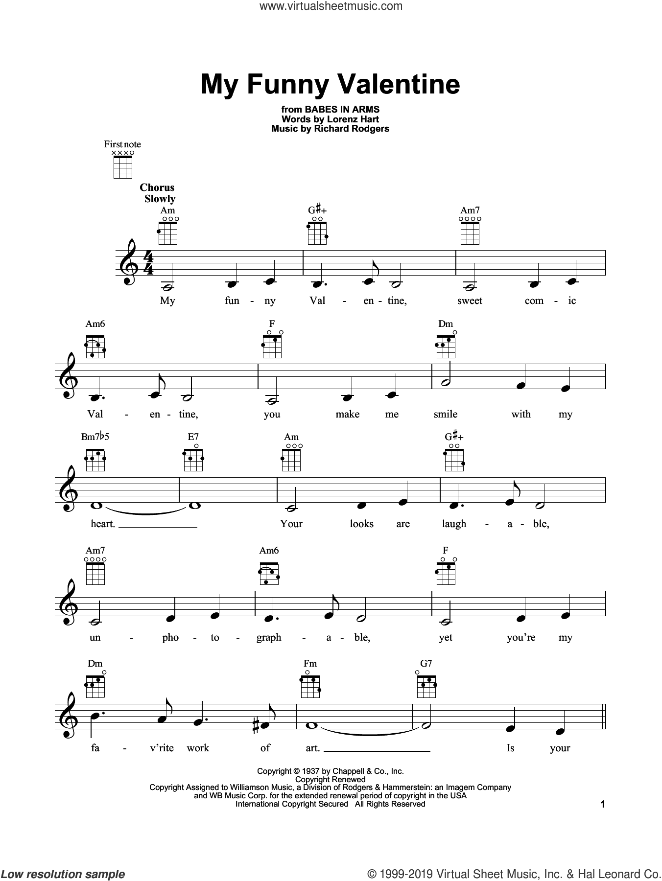 My Funny Valentine sheet music for ukulele by Rodgers & Hart, Lorenz Hart and Richard Rodgers, intermediate skill level