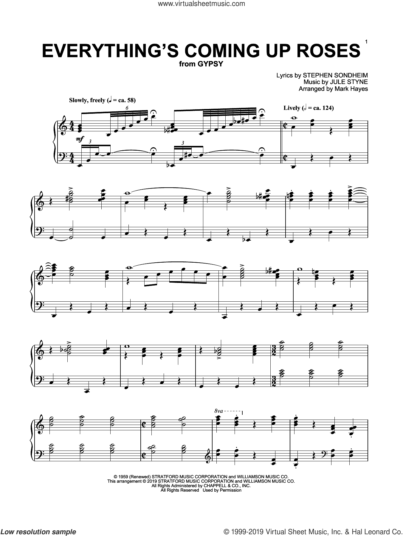 Everything's Coming Up Roses (from Gypsy) (arr. Mark Hayes) sheet music for piano solo by Stephen Sondheim, Mark Hayes and Jule Styne, intermediate skill level