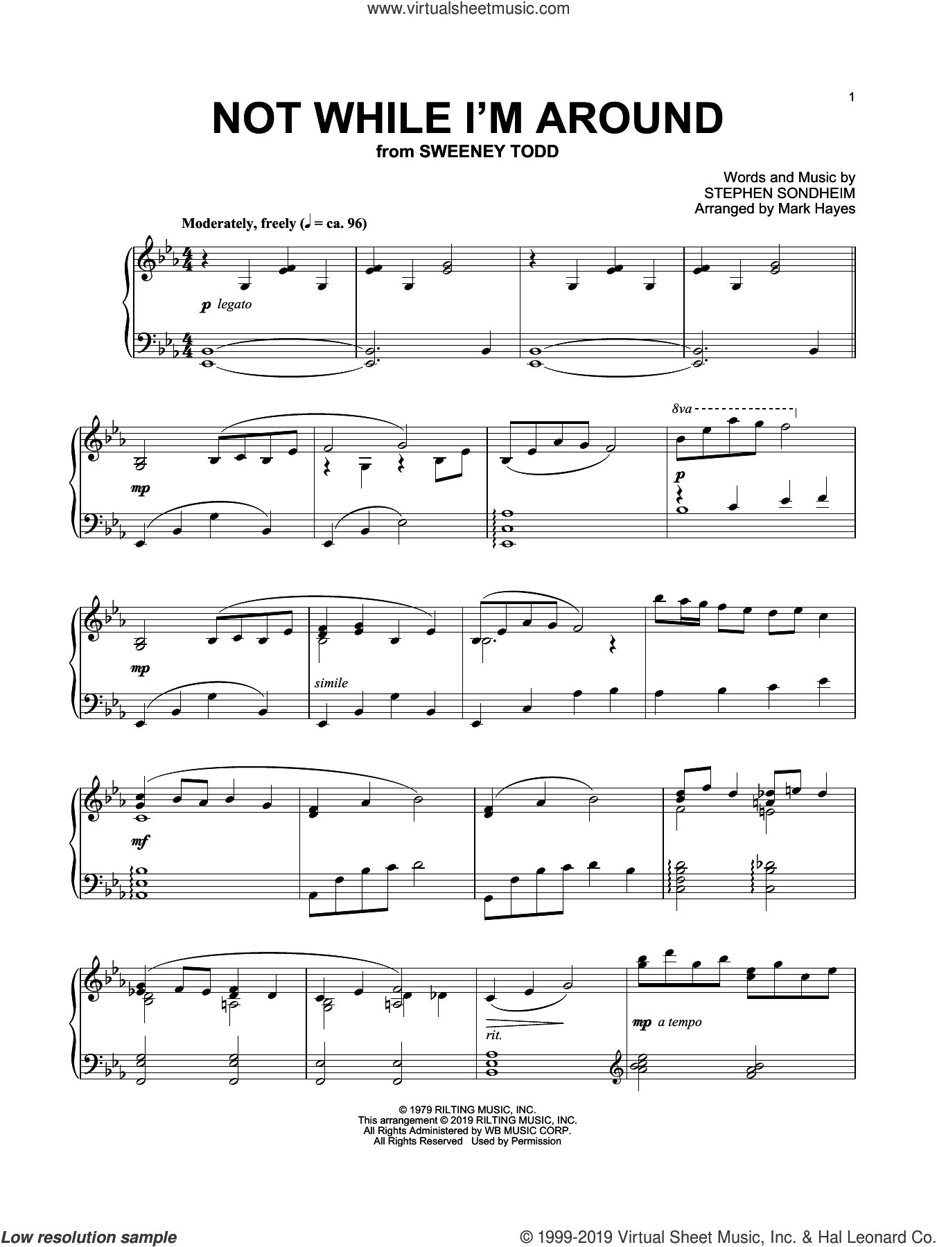 Not While I'm Around (arr. Mark Hayes) sheet music for piano solo by Stephen Sondheim and Mark Hayes, intermediate skill level