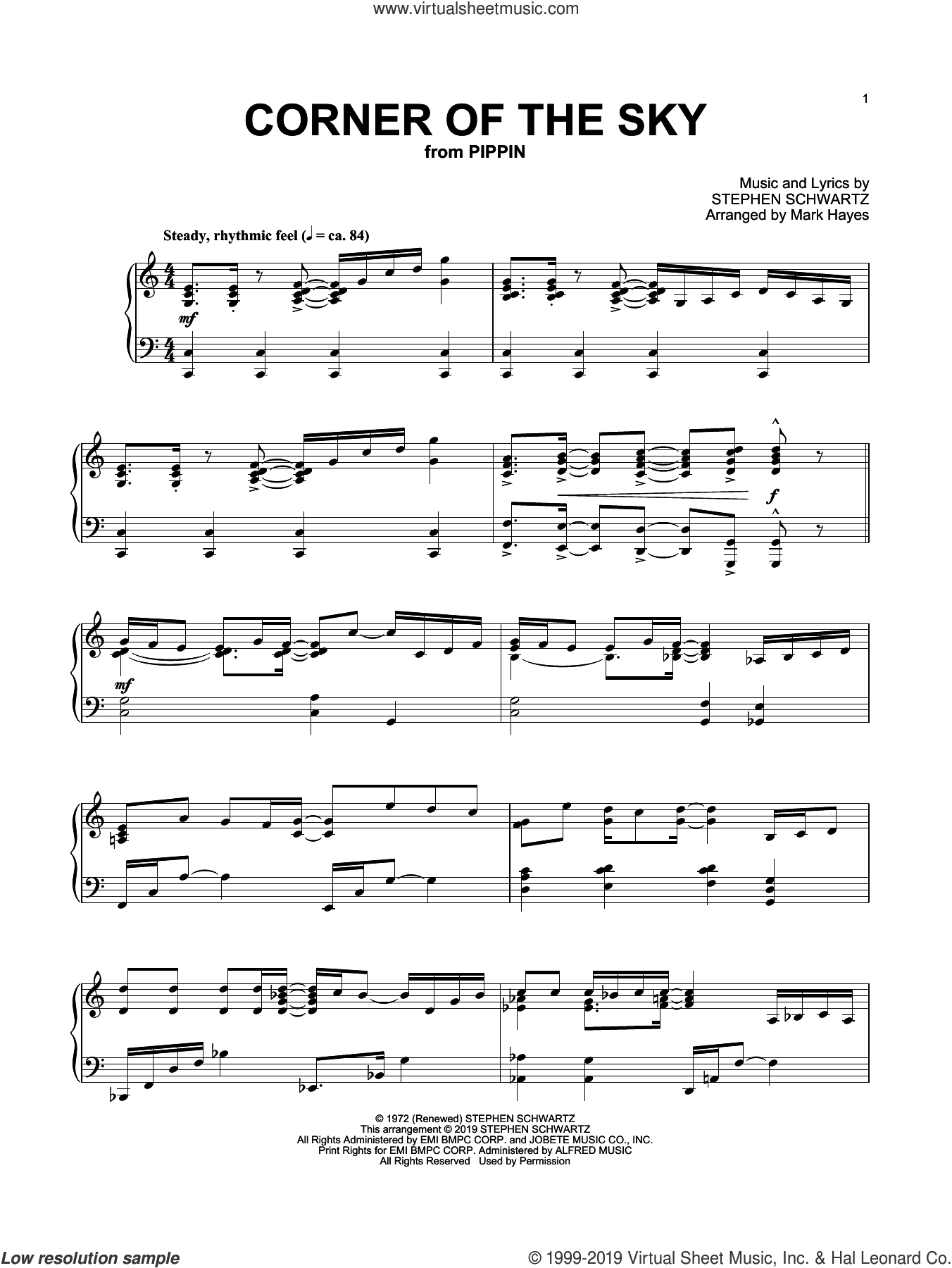 Corner Of The Sky (from Pippin) (arr. Mark Hayes) sheet music for piano solo by Stephen Schwartz and Mark Hayes, classical score, intermediate skill level