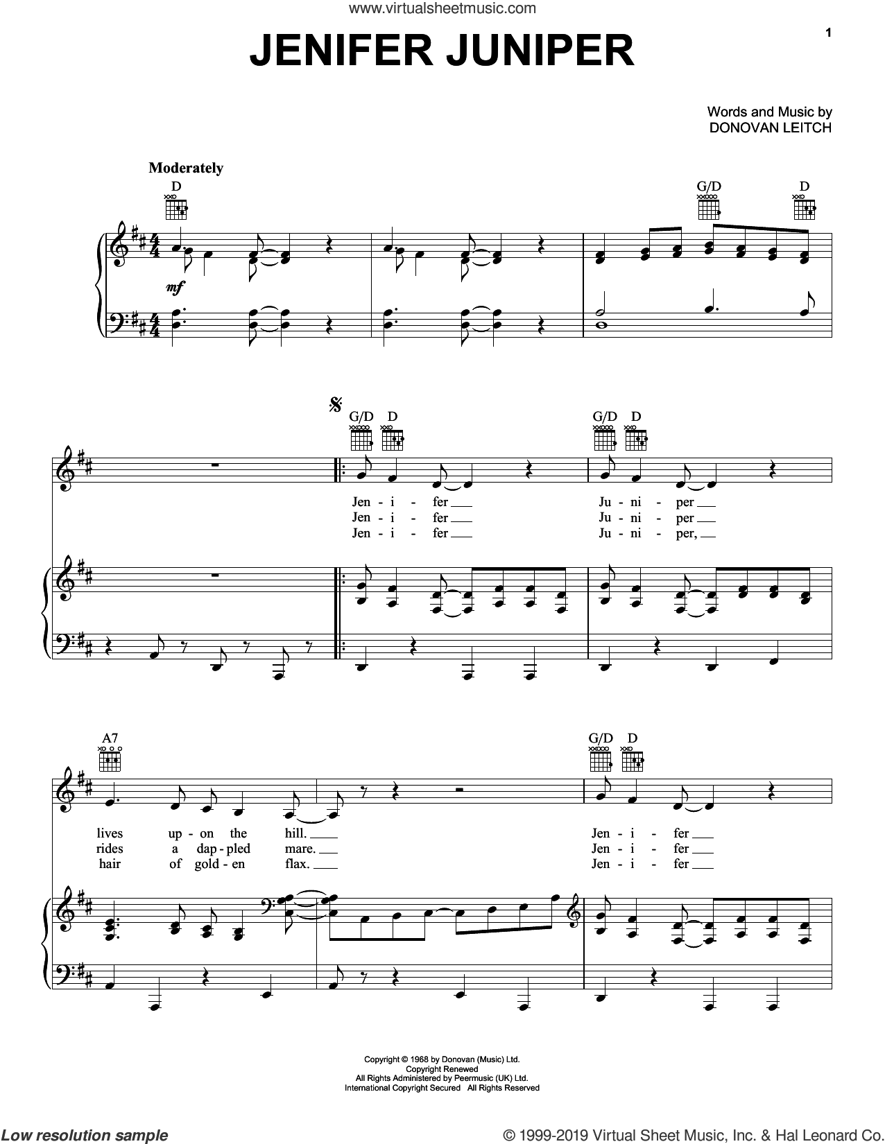Jenifer Juniper sheet music for voice, piano or guitar by Walter Donovan and Donovan Leitch, intermediate skill level