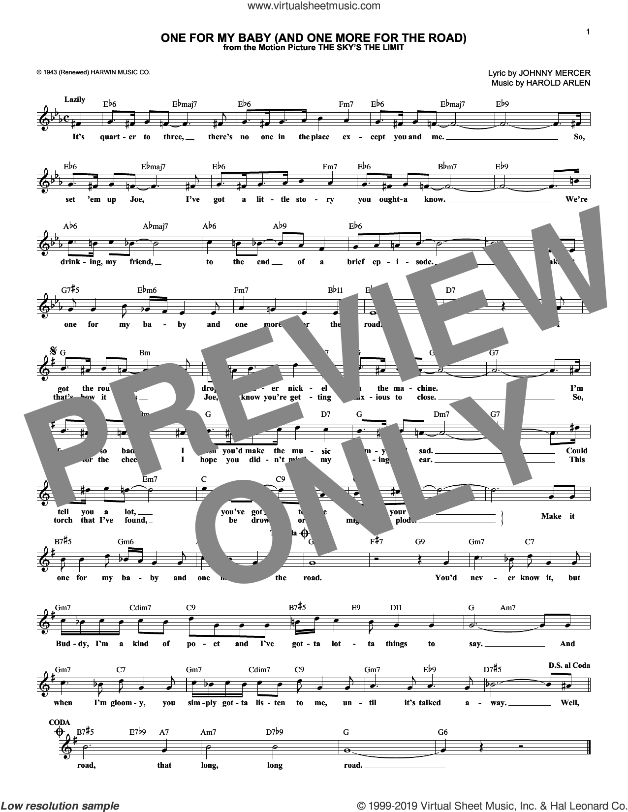 One For My Baby (And One More For The Road) sheet music for voice and other instruments (fake book) by Frank Sinatra, Harold Arlen and Johnny Mercer, intermediate skill level