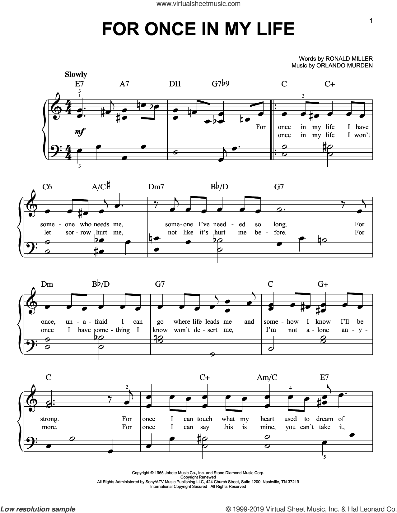 For Once In My Life sheet music for piano solo by Stevie Wonder, Orlando Murden and Ron Miller, easy skill level