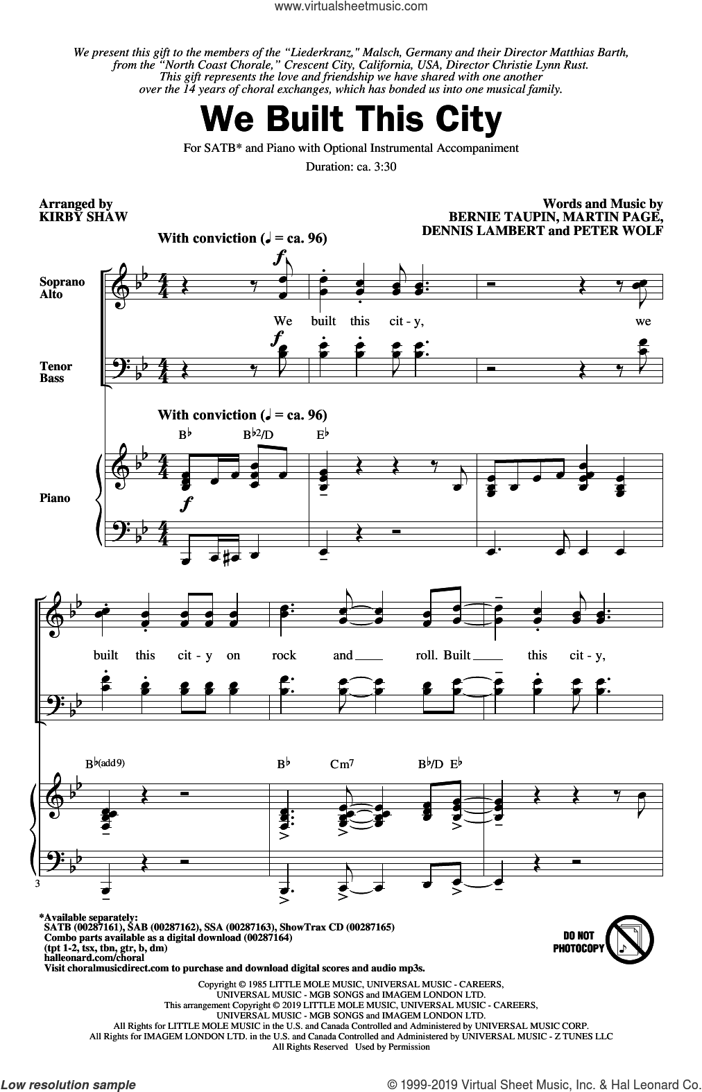 We Built This City (arr. Kirby Shaw) sheet music for choir (SATB: soprano, alto, tenor, bass) by Starship, Kirby Shaw, Bernie Taupin, Dennis Lambert, Martin George Page and Peter Wolf, intermediate skill level