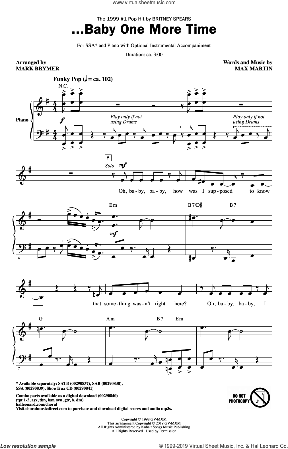 ...Baby One More Time (arr. Mark Brymer) sheet music for choir (SSA: soprano, alto) by Britney Spears, Mark Brymer and Max Martin, intermediate skill level
