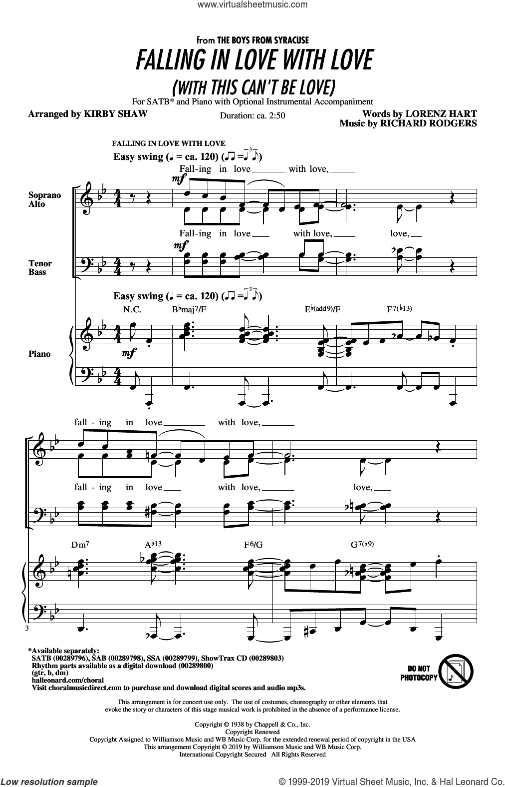 Falling In Love With Love (with This Can't Be Love) (arr. Kirby Shaw) sheet music for choir (SATB: soprano, alto, tenor, bass) by Rodgers & Hart, Kirby Shaw, Lorenz Hart and Richard Rodgers, intermediate skill level
