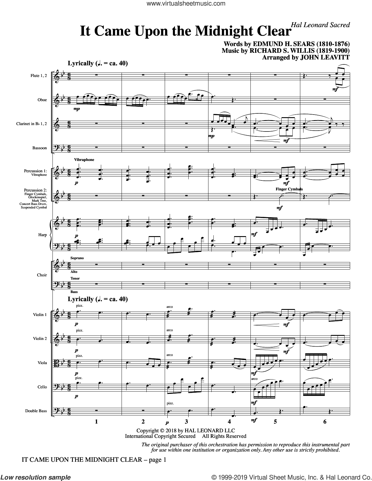 It Came Upon the Midnight Clear (COMPLETE) sheet music for orchestra/band by John Leavitt, Edmund Hamilton Sears and Richard Storrs Willis, intermediate skill level