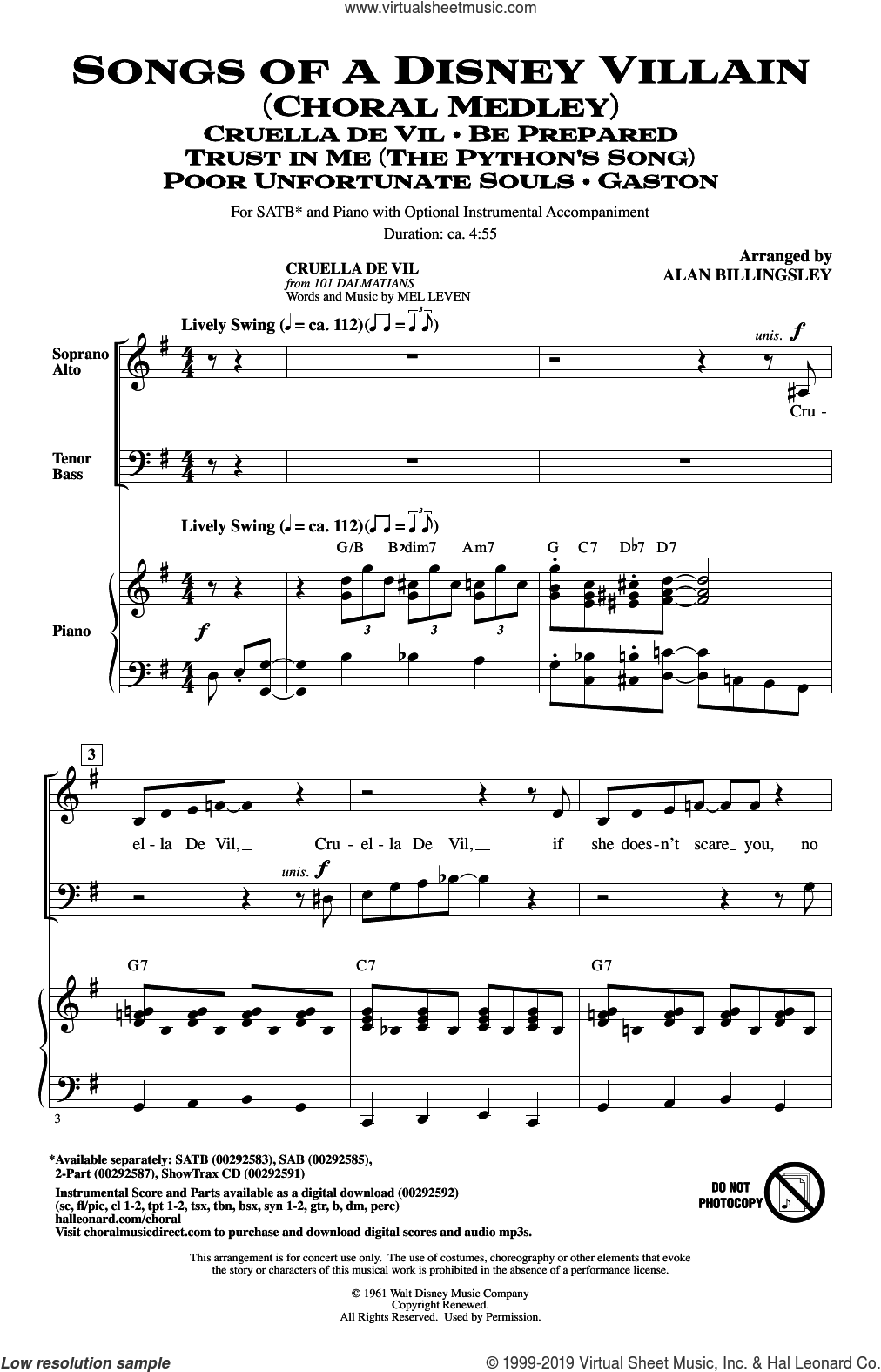 Songs Of A Disney Villain (Choral Medley) sheet music for choir (SATB: soprano, alto, tenor, bass) by Elton John & Tim Rice, Alan Billingsley, Elton John and Tim Rice, intermediate skill level