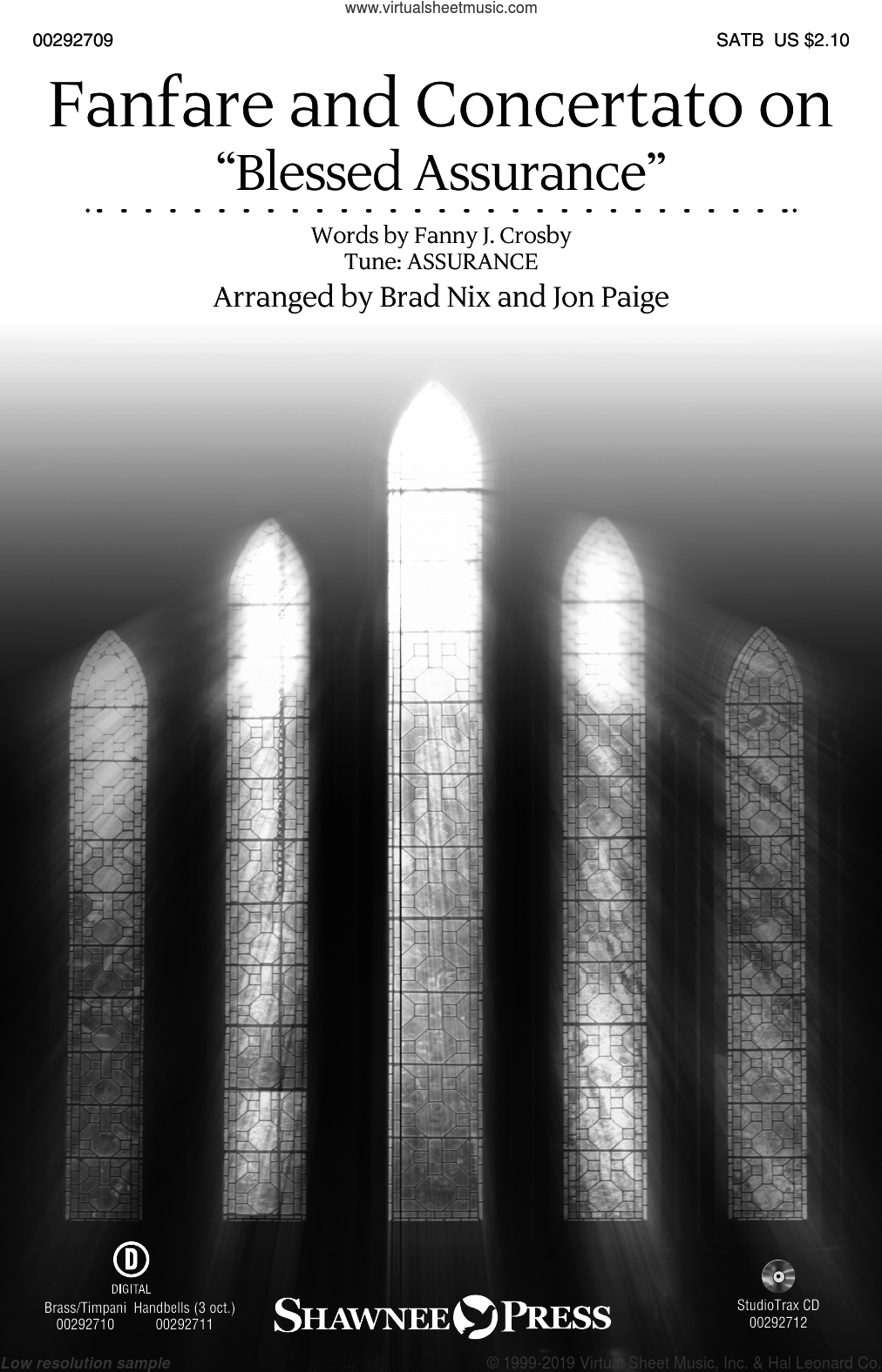 Fanfare And Concertato On 'Blessed Assurance' (arr. Brad Nix and Jon Paige) sheet music for choir (SATB: soprano, alto, tenor, bass) by Fanny J. Crosby, Brad Nix and Jon Paige, intermediate skill level