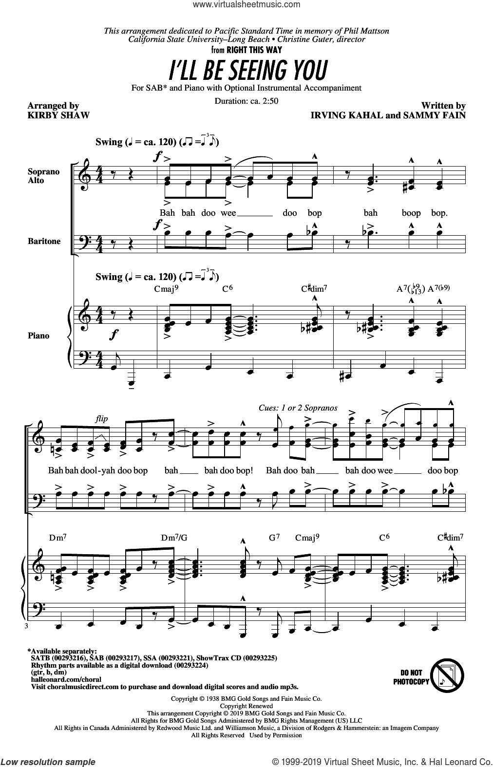 I'll Be Seeing You (arr. Kirby Shaw) sheet music for choir (SAB: soprano, alto, bass) by Sammy Fain, Kirby Shaw and Irving Kahal, intermediate skill level