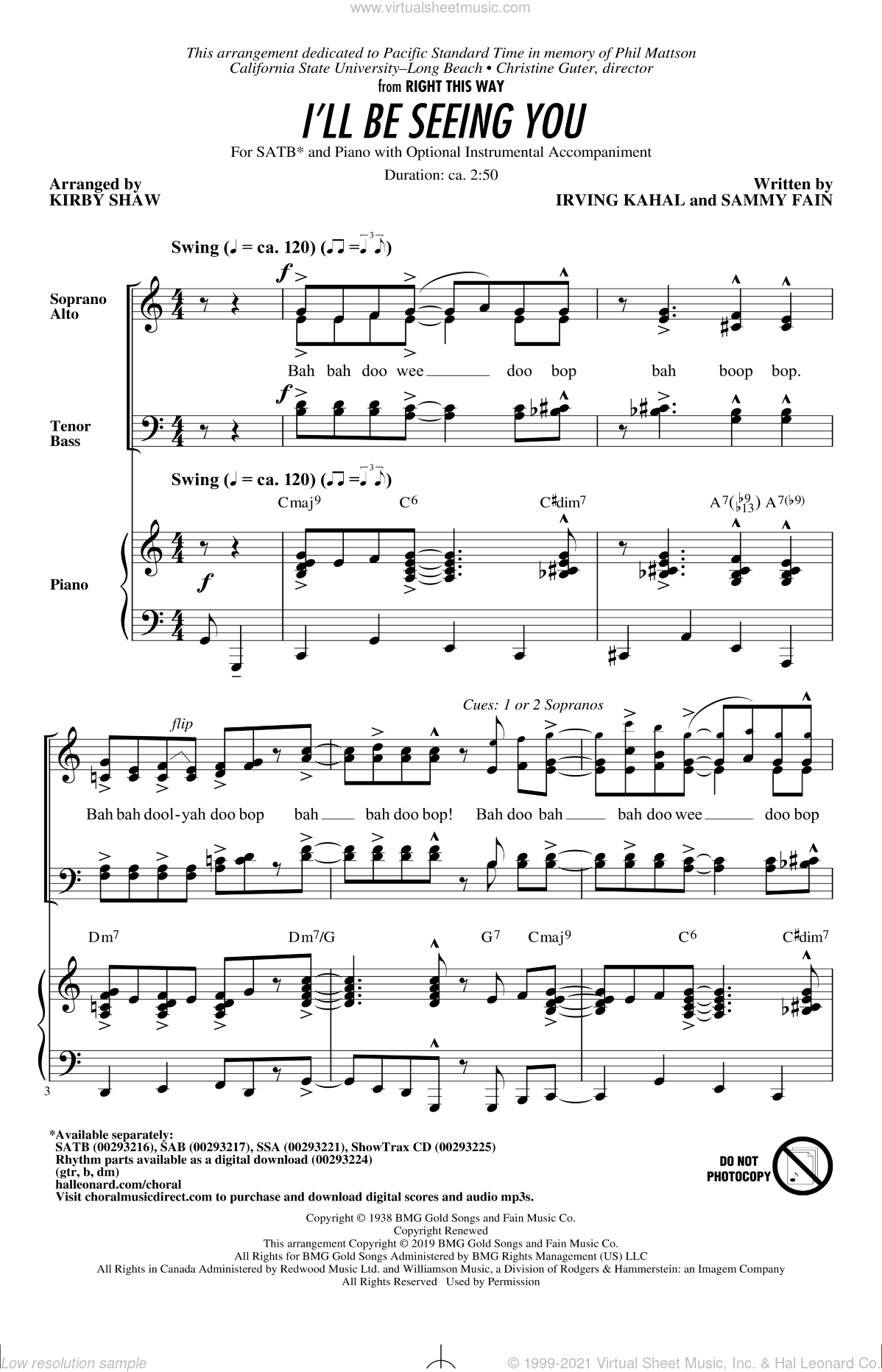 I'll Be Seeing You (arr. Kirby Shaw) sheet music for choir (SATB: soprano, alto, tenor, bass) by Sammy Fain, Kirby Shaw and Irving Kahal, intermediate skill level