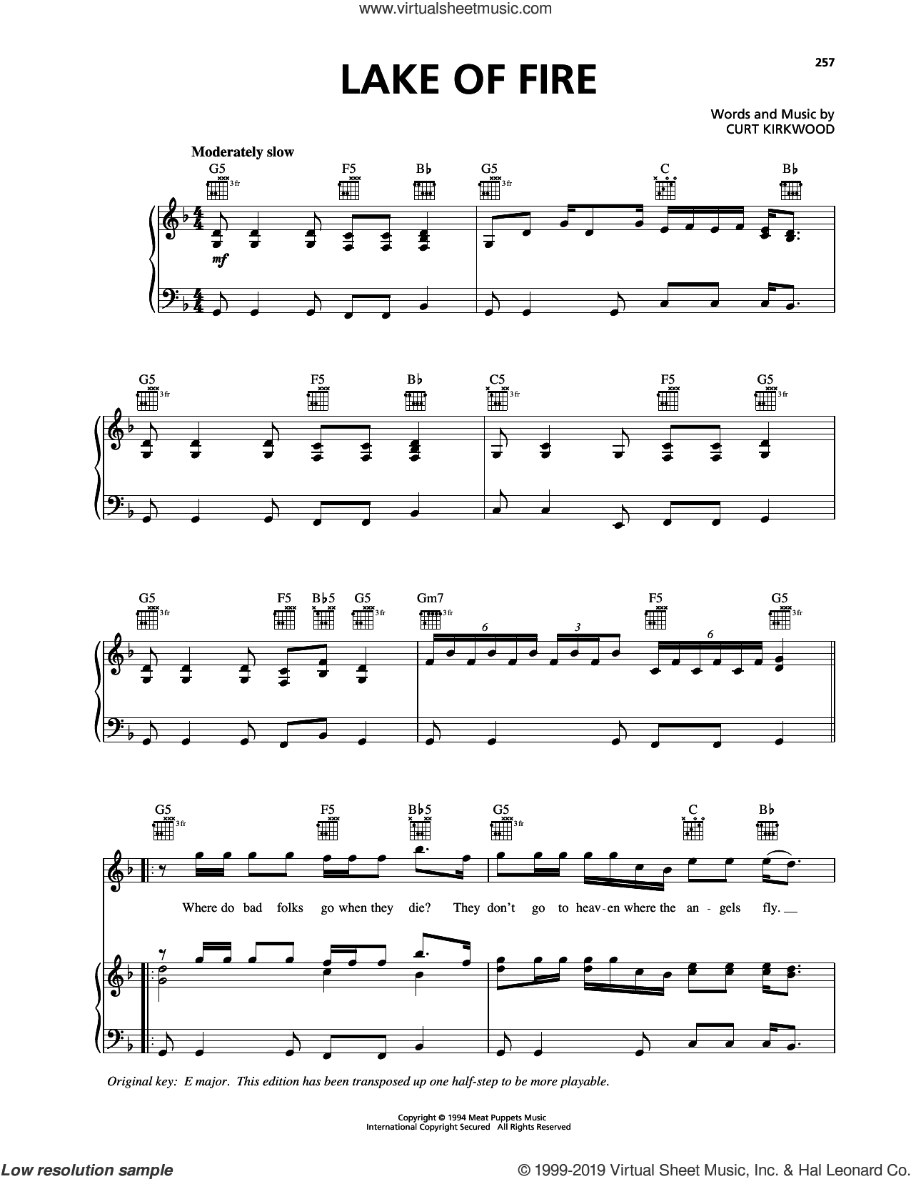 Lake Of Fire sheet music for voice, piano or guitar by Nirvana and Curt Kirkwood, intermediate skill level