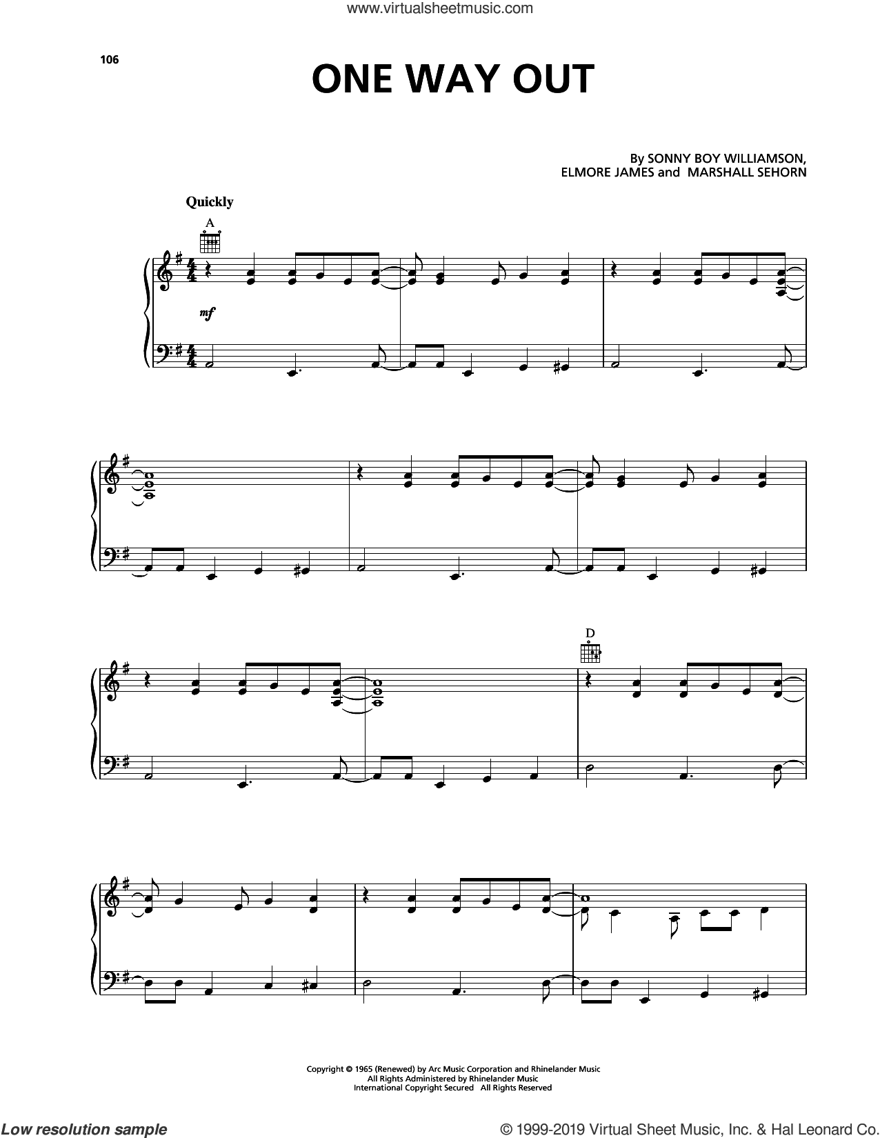 One Way Out sheet music for voice, piano or guitar by The Allman Brothers Band, Elmore James, Marshall Sehorn and Willie Williamson, intermediate skill level