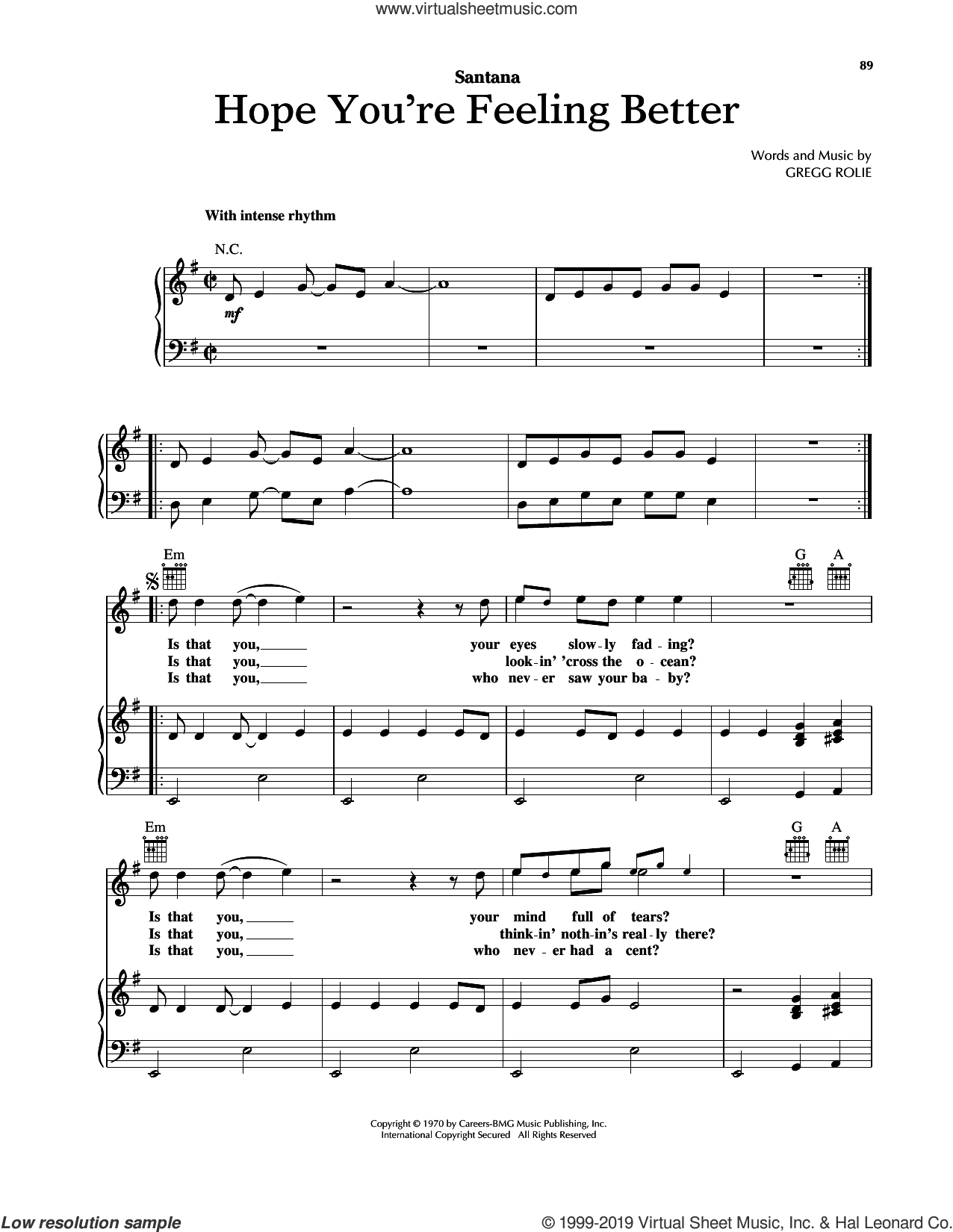 Hope You're Feeling Better sheet music for voice, piano or guitar by Carlos Santana and Gregg Rolie, intermediate skill level