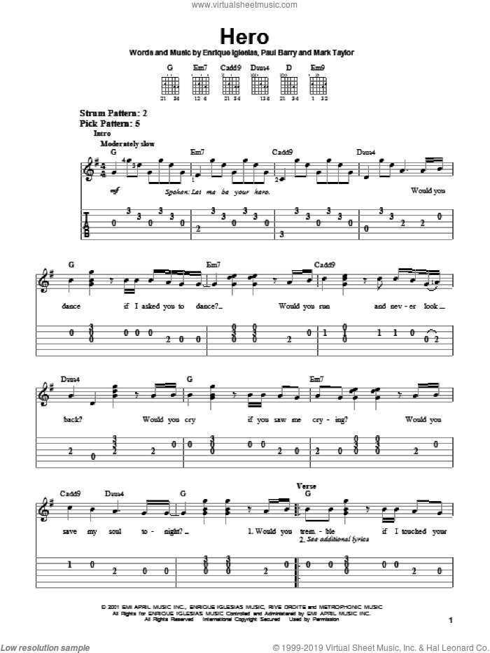 Hero sheet music for guitar solo (chords) by Paul Barry