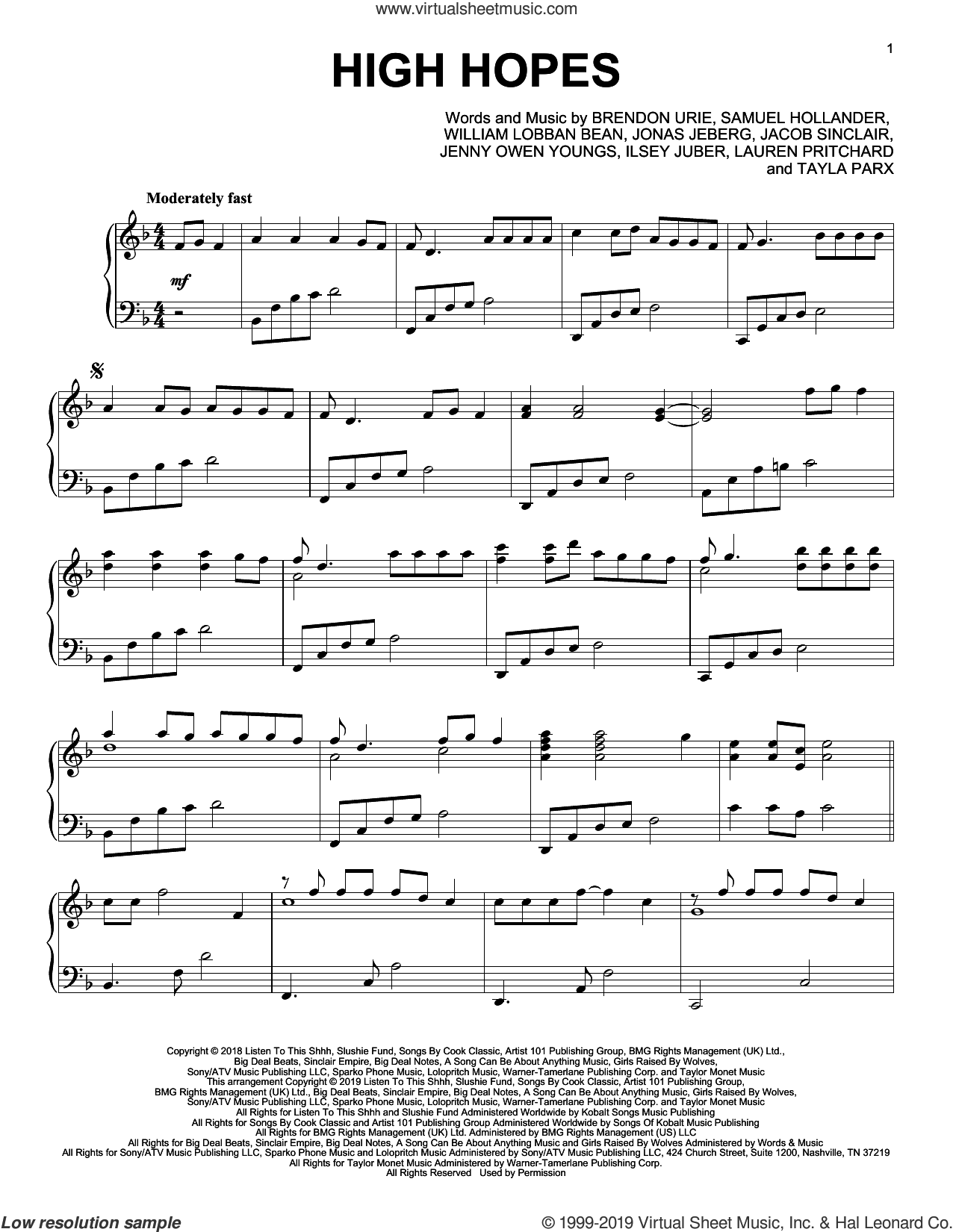 High Hopes sheet music for piano solo by Sam Hollander, Panic! At The Disco, Brendon Urie, Ilsey Juber, Jacob Sinclair, Jenny Owen Youngs, Jonas Jeberg, Lauren Pritchard, Tayla Parx and William Lobban Bean, intermediate skill level