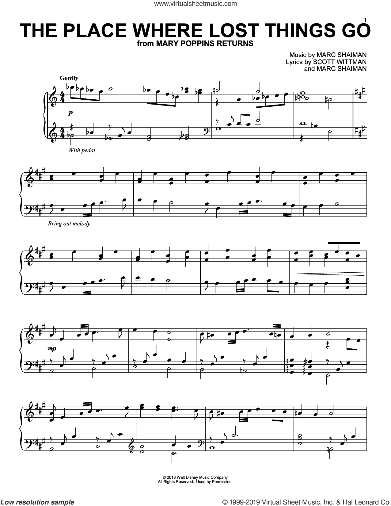 The Place Where Lost Things Go (from Mary Poppins Returns) sheet music for piano solo by Emily Blunt, Marc Shaiman and Scott Wittman, intermediate skill level