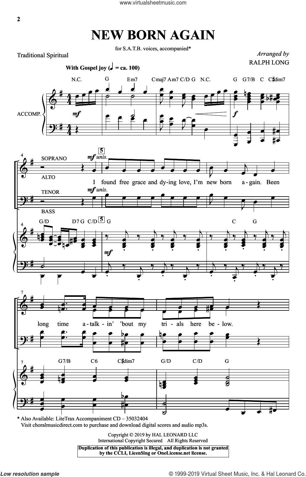 New Born Again (arr. Ralph Long) sheet music for choir (SATB: soprano, alto, tenor, bass)  and Ralph Long, intermediate skill level