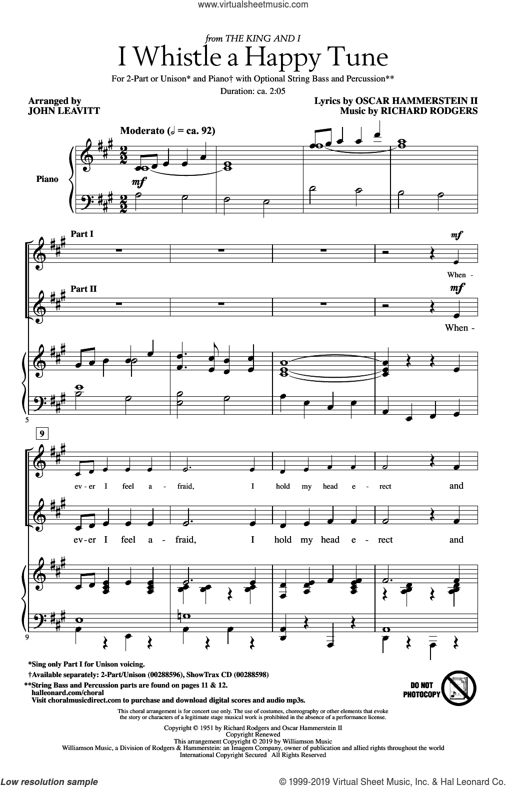 I Whistle A Happy Tune (from The King And I) (arr. John Leavitt) sheet music for choir (2-Part) by Richard Rodgers, John Leavitt, Oscar II Hammerstein and Rodgers & Hammerstein, intermediate duet