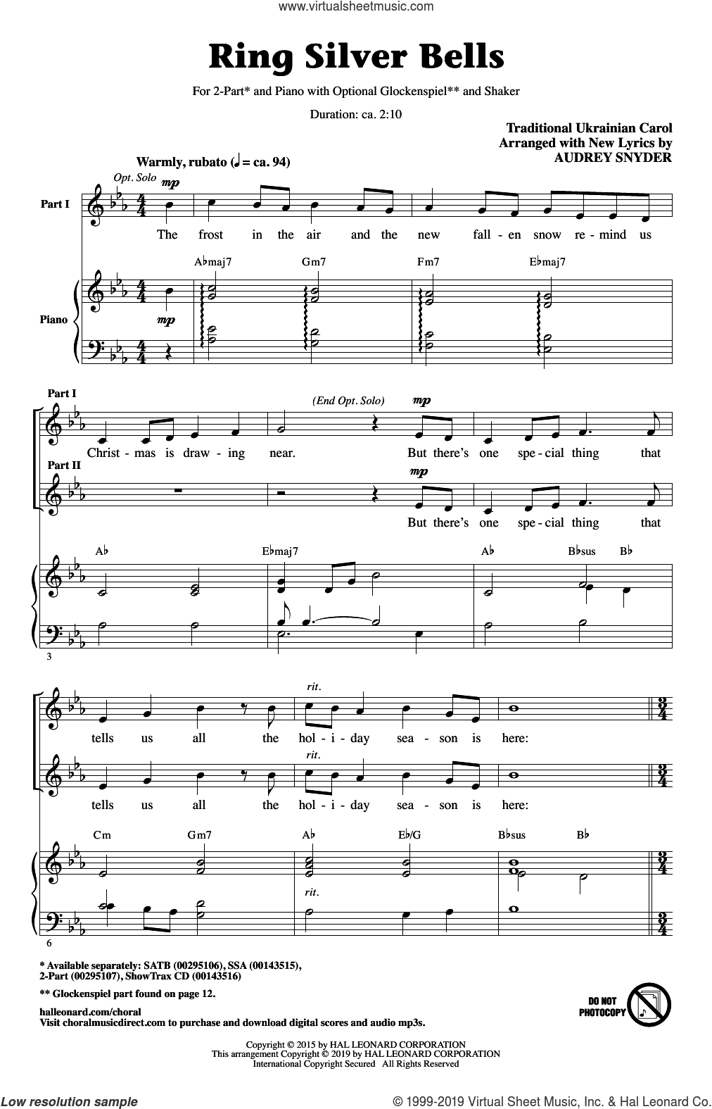 Ring Silver Bells (arr. Audrey Snyder) sheet music for choir (2-Part)  and Audrey Snyder, intermediate duet