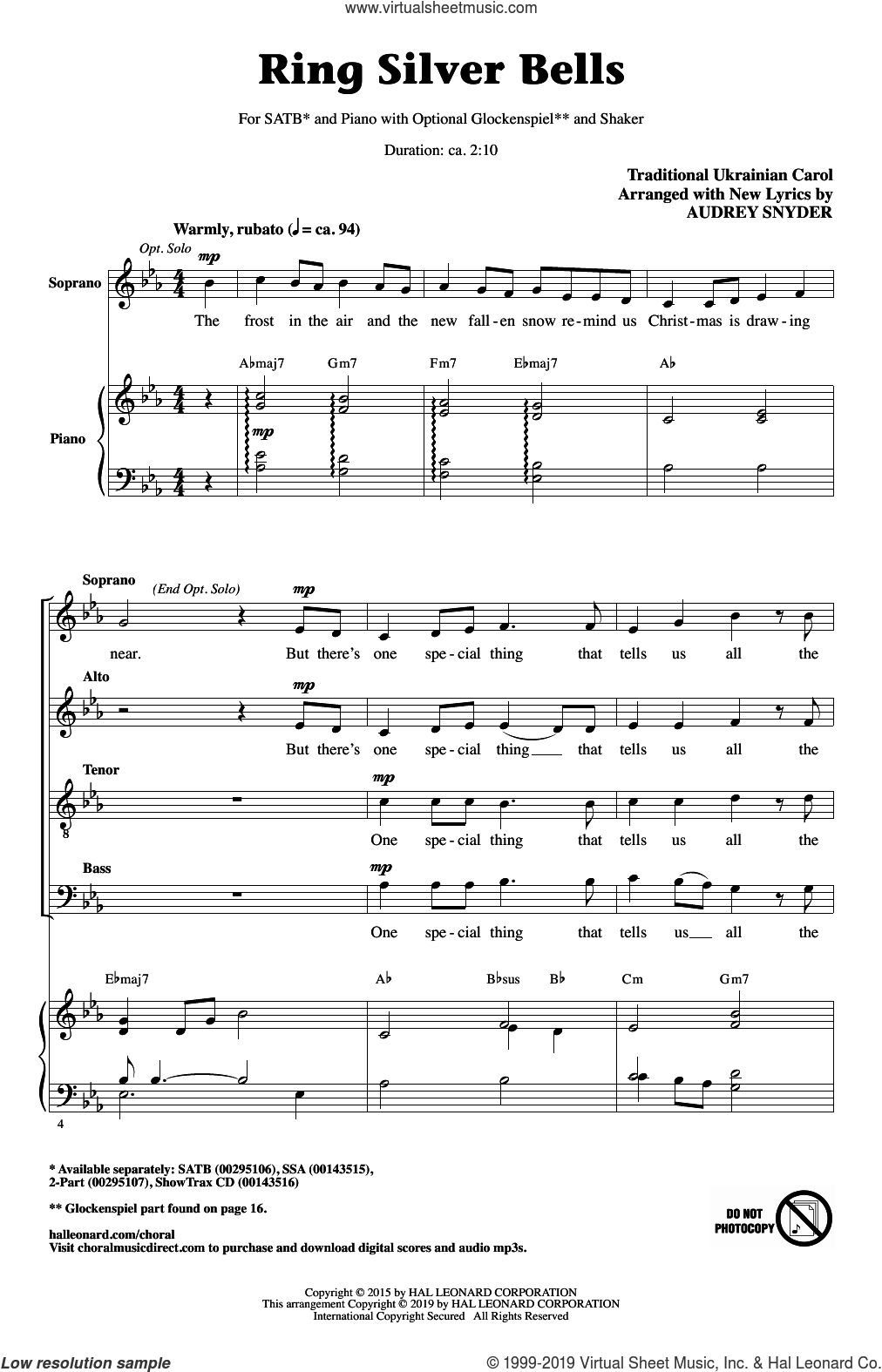Ring Silver Bells (arr. Audrey Snyder) sheet music for choir (SATB: soprano, alto, tenor, bass)  and Audrey Snyder, intermediate skill level