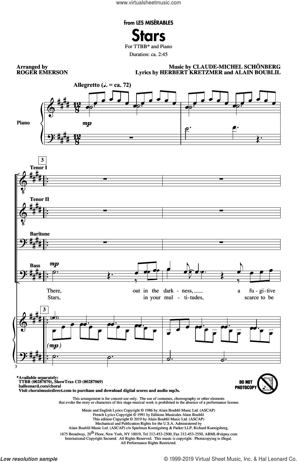 Stars (from Les Miserables) (arr. Roger Emerson) sheet music for choir (TTBB: tenor, bass) by Alain Boublil, Roger Emerson, Boublil & Schonberg, Claude-Michel Schonberg and Herbert Kretzmer, intermediate skill level