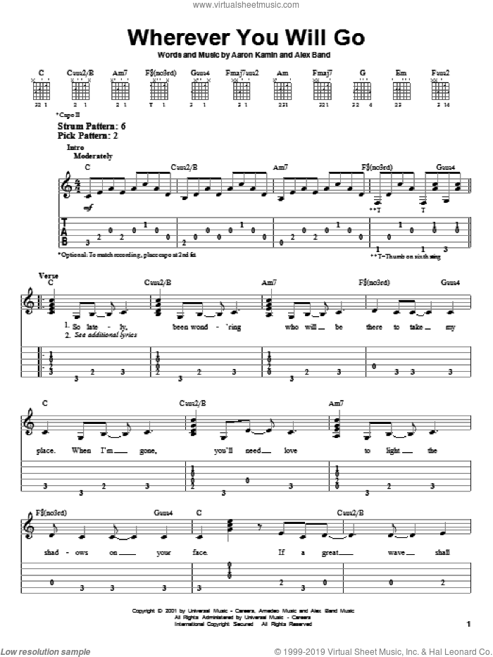 Wherever You Will Go sheet music for guitar solo (chords) by Alex Band and The Calling. Score Image Preview.