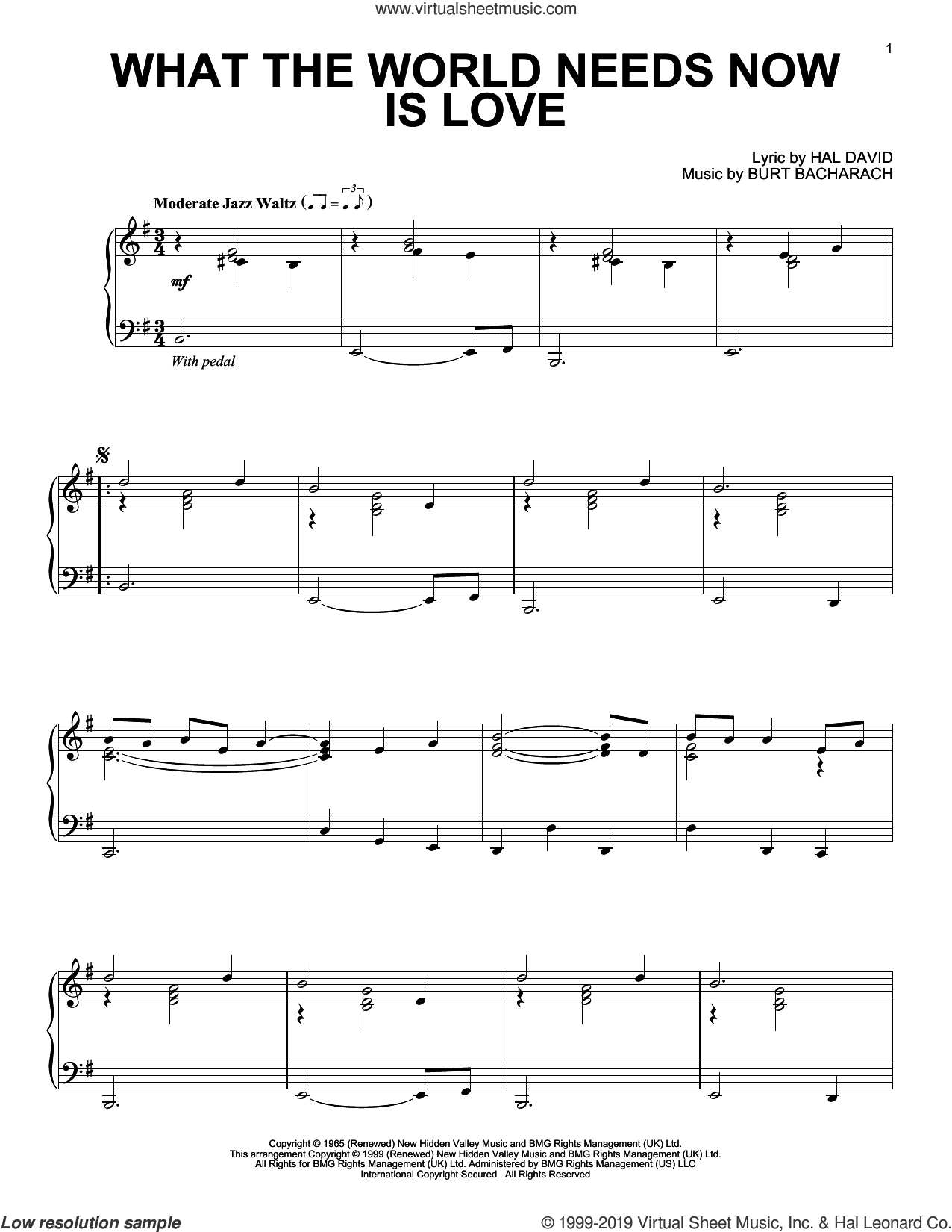 What The World Needs Now Is Love sheet music for piano solo by Bacharach & David, Burt Bacharach and Hal David, intermediate skill level