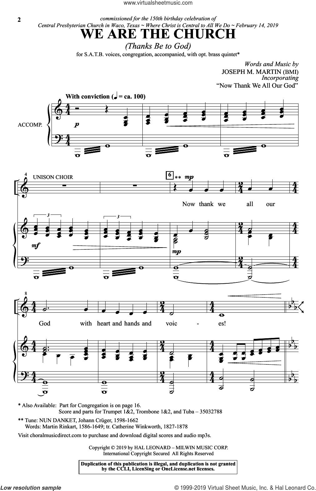 We Are The Church (Thanks Be To God) sheet music for choir (SATB: soprano, alto, tenor, bass) by Joseph M. Martin, intermediate skill level