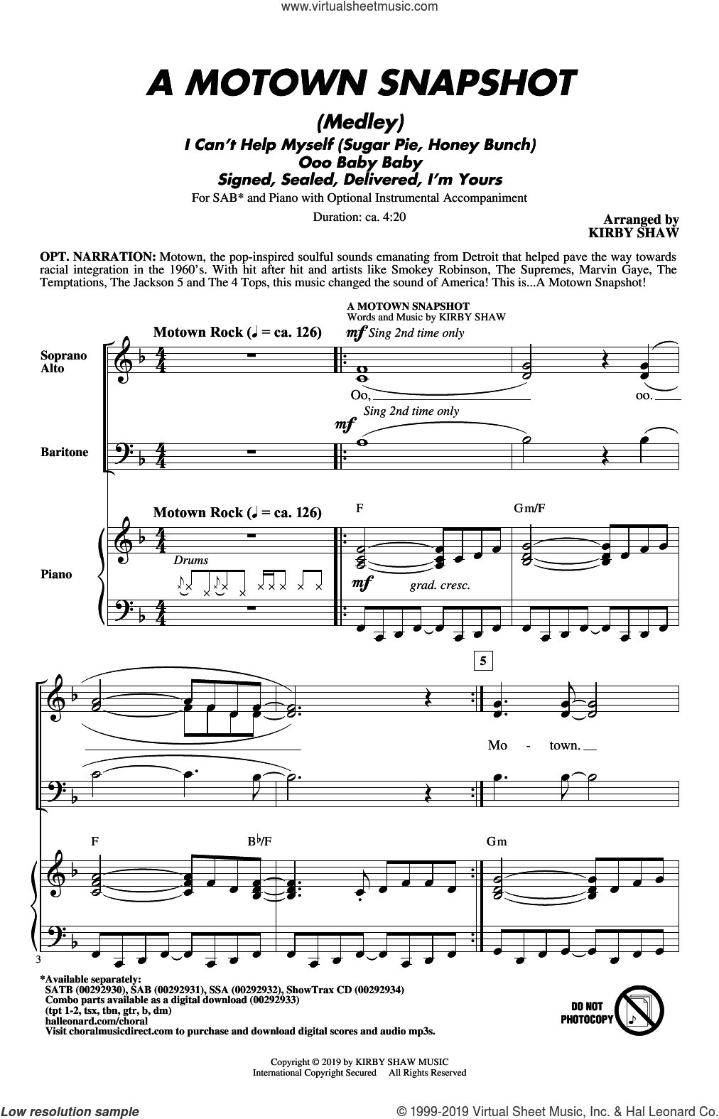 A Motown Snapshot (Medley) sheet music for choir (SAB: soprano, alto, bass) by William 'Smokey' Robinson, Kirby Shaw, Linda Ronstadt, The Miracles and Warren Moore, intermediate skill level