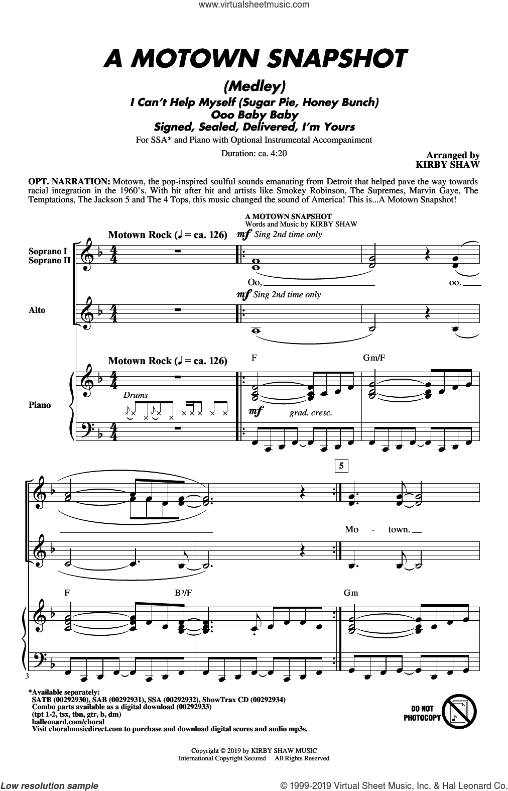 A Motown Snapshot (Medley) sheet music for choir (SSA: soprano, alto) by William 'Smokey' Robinson, Kirby Shaw, Linda Ronstadt, The Miracles and Warren Moore, intermediate skill level