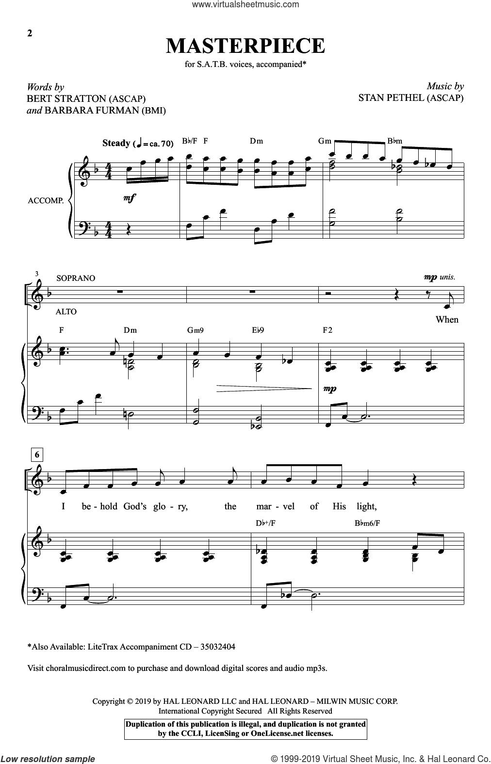 Masterpiece sheet music for choir (SATB: soprano, alto, tenor, bass) by Stan Pethel, Barbara Furman and Bert Stratton, intermediate skill level