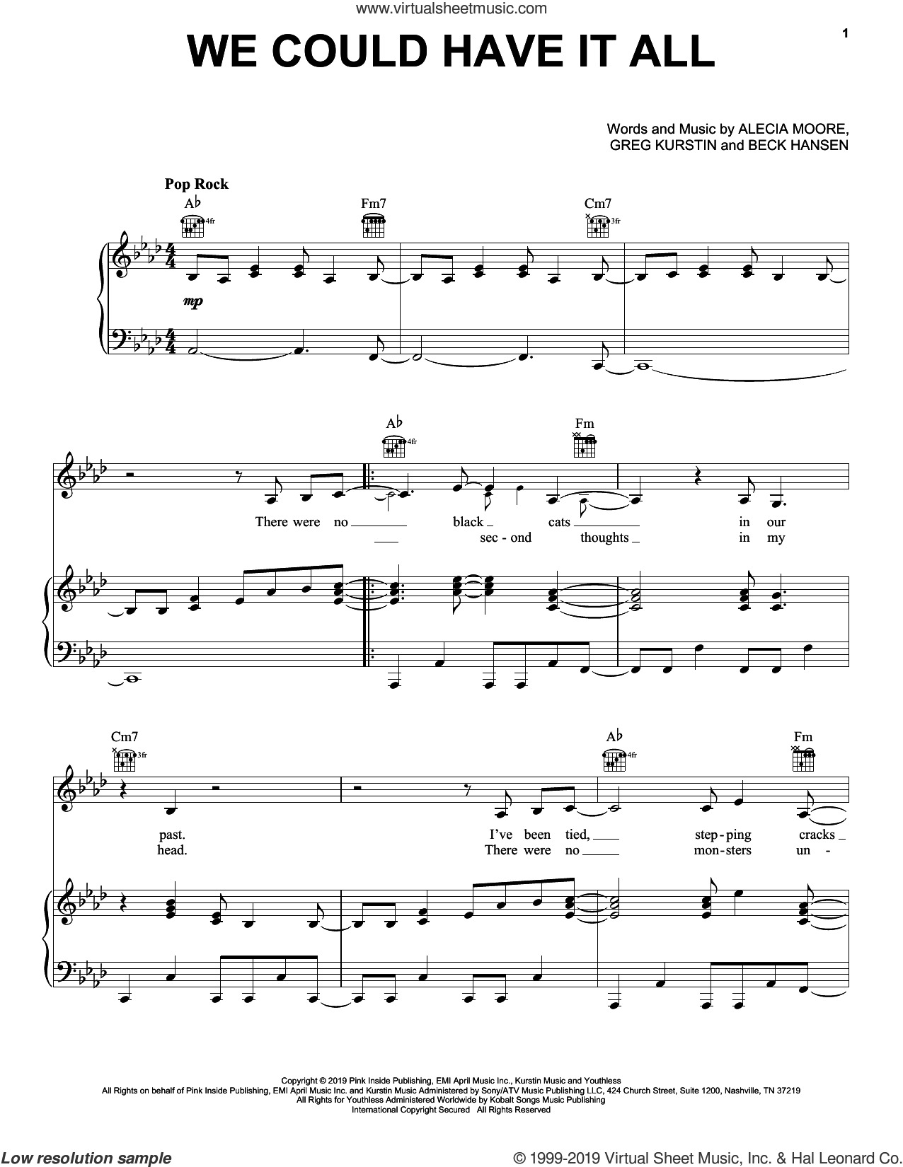 We Could Have It All sheet music for voice, piano or guitar by Beck Hansen, Miscellaneous, P!nk, Alecia Moore and Greg Kurstin, intermediate skill level