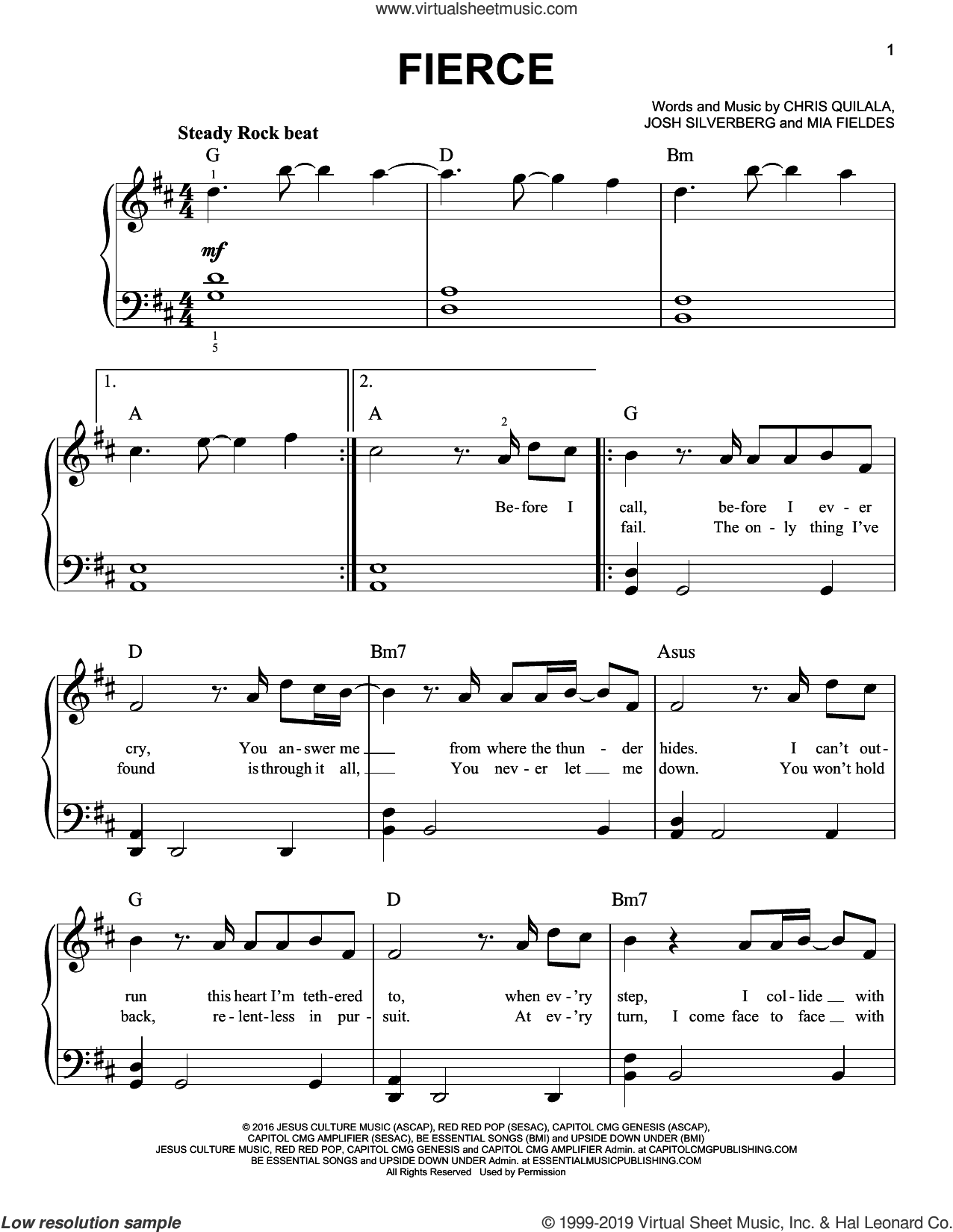 Fierce sheet music for piano solo by Jesus Culture, Chris Quilala, Josh Silverberg and Mia Fieldes, easy skill level