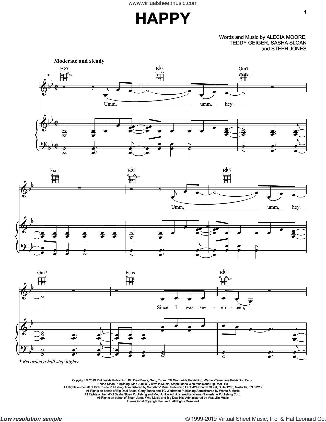 Happy sheet music for voice, piano or guitar by Teddy Geiger, Miscellaneous, P!nk, Alecia Moore, Sasha Sloan and Steph Jones, intermediate skill level